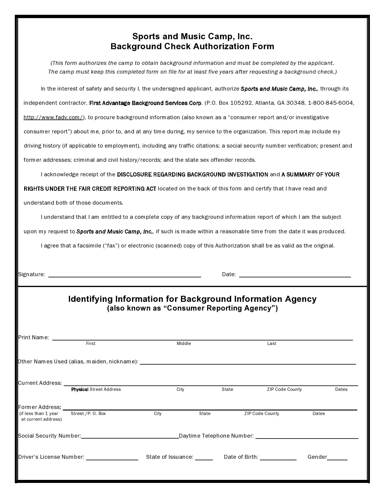 Free background check form 09