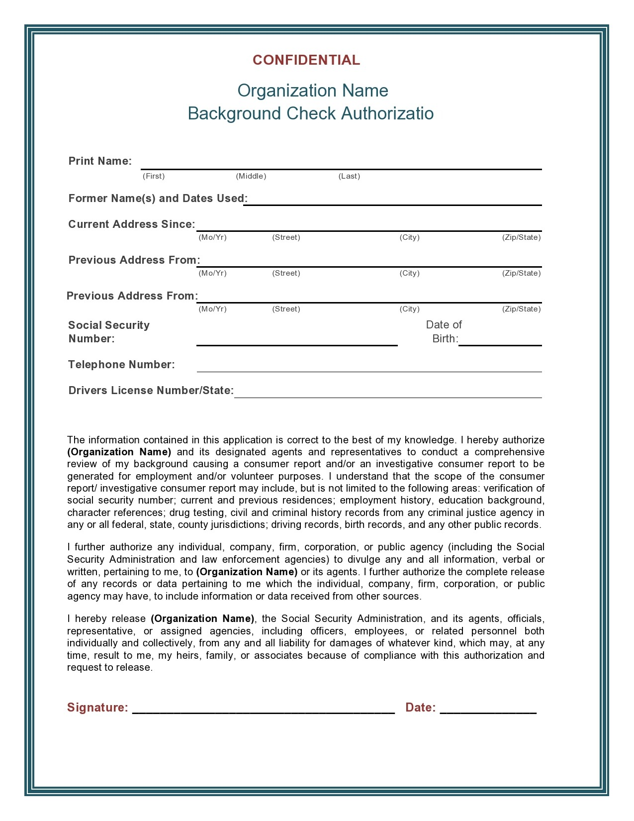 Free background check form 10