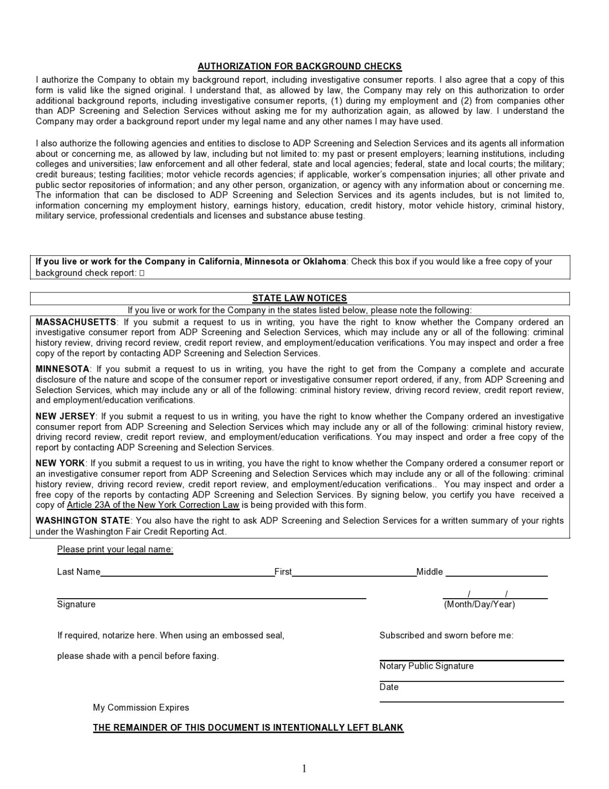 Free background check form 11