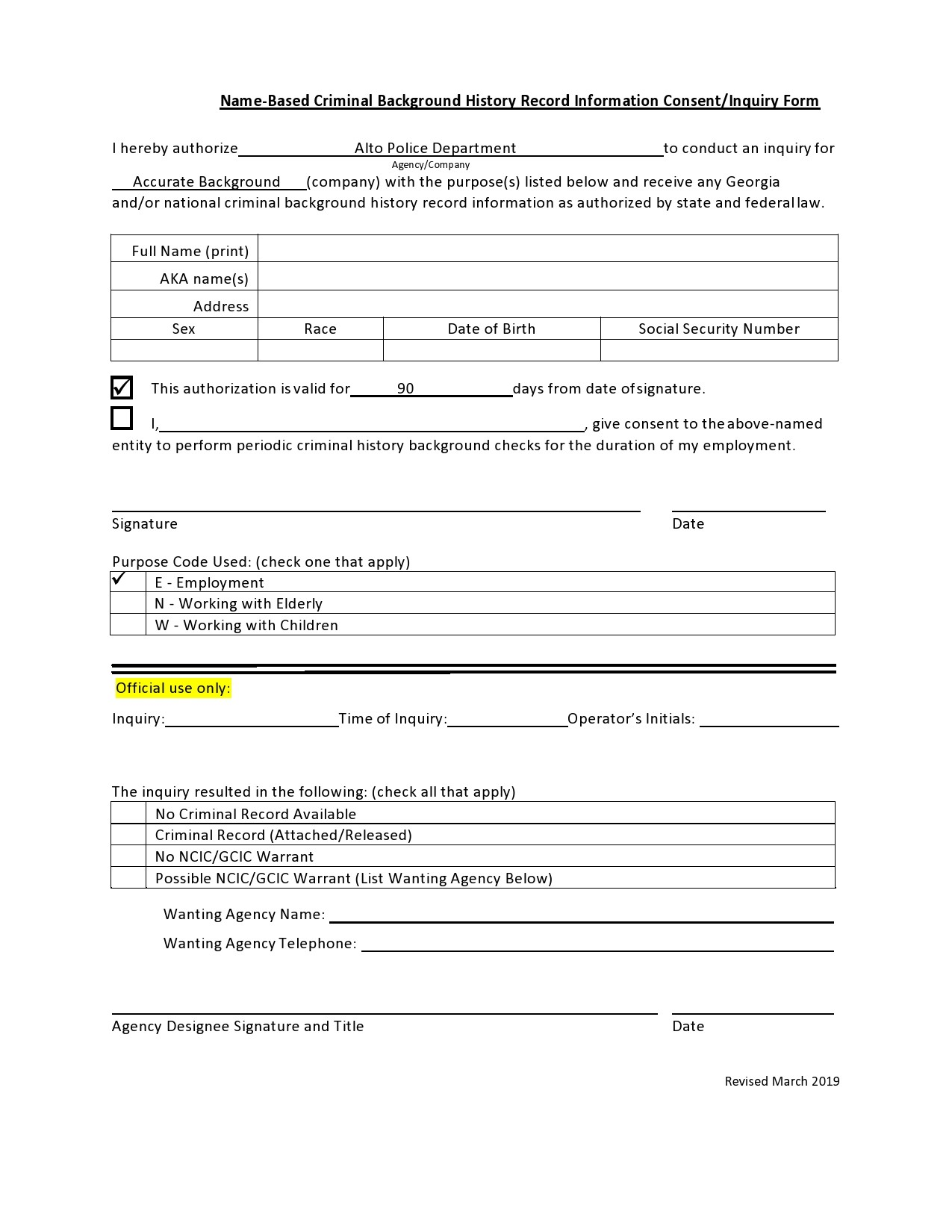 Free background check form 12