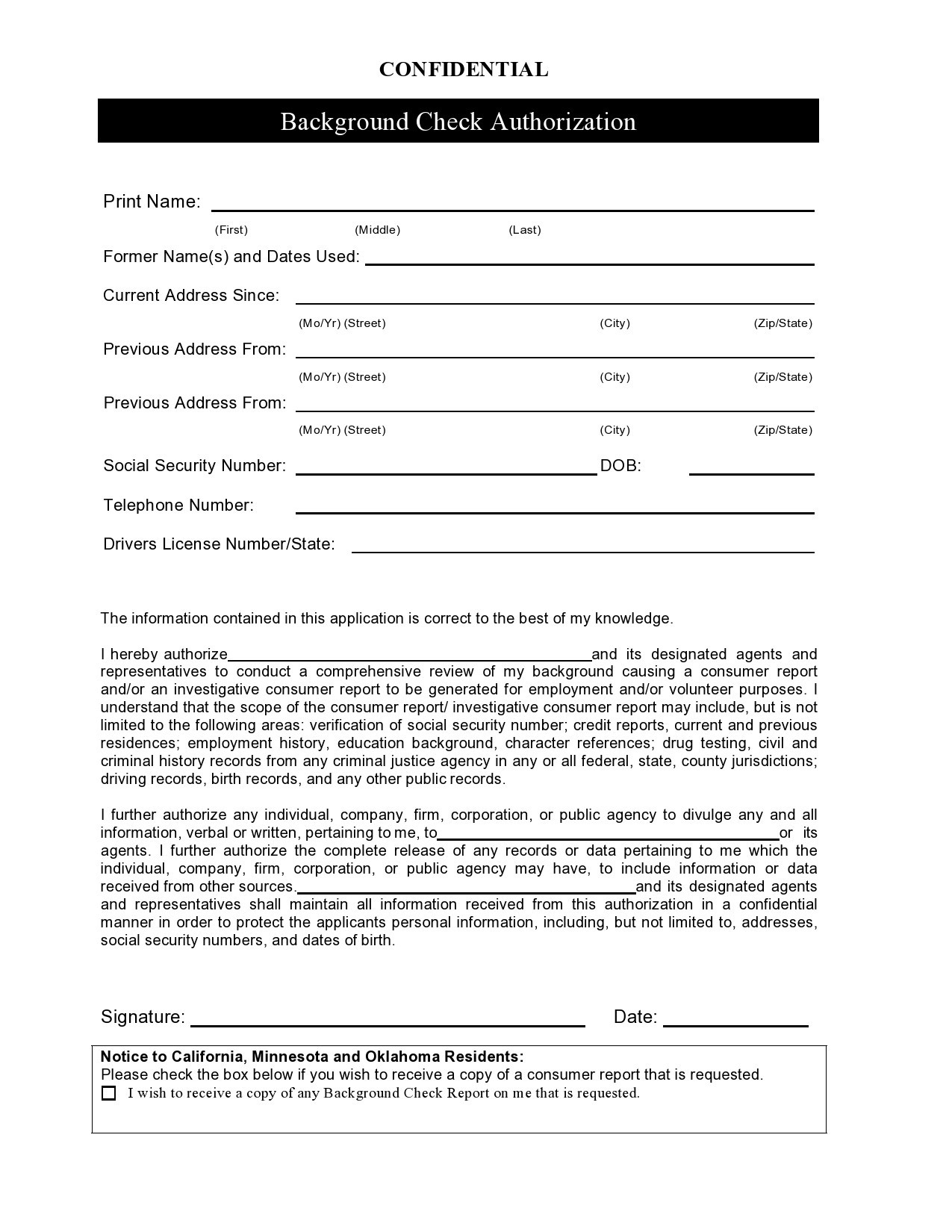 Free background check form 14