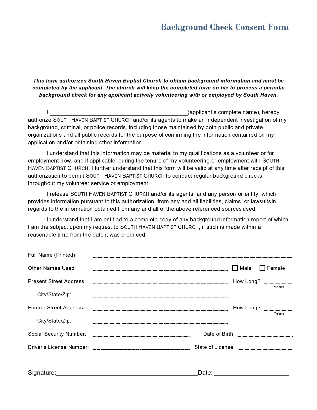Free background check form 16