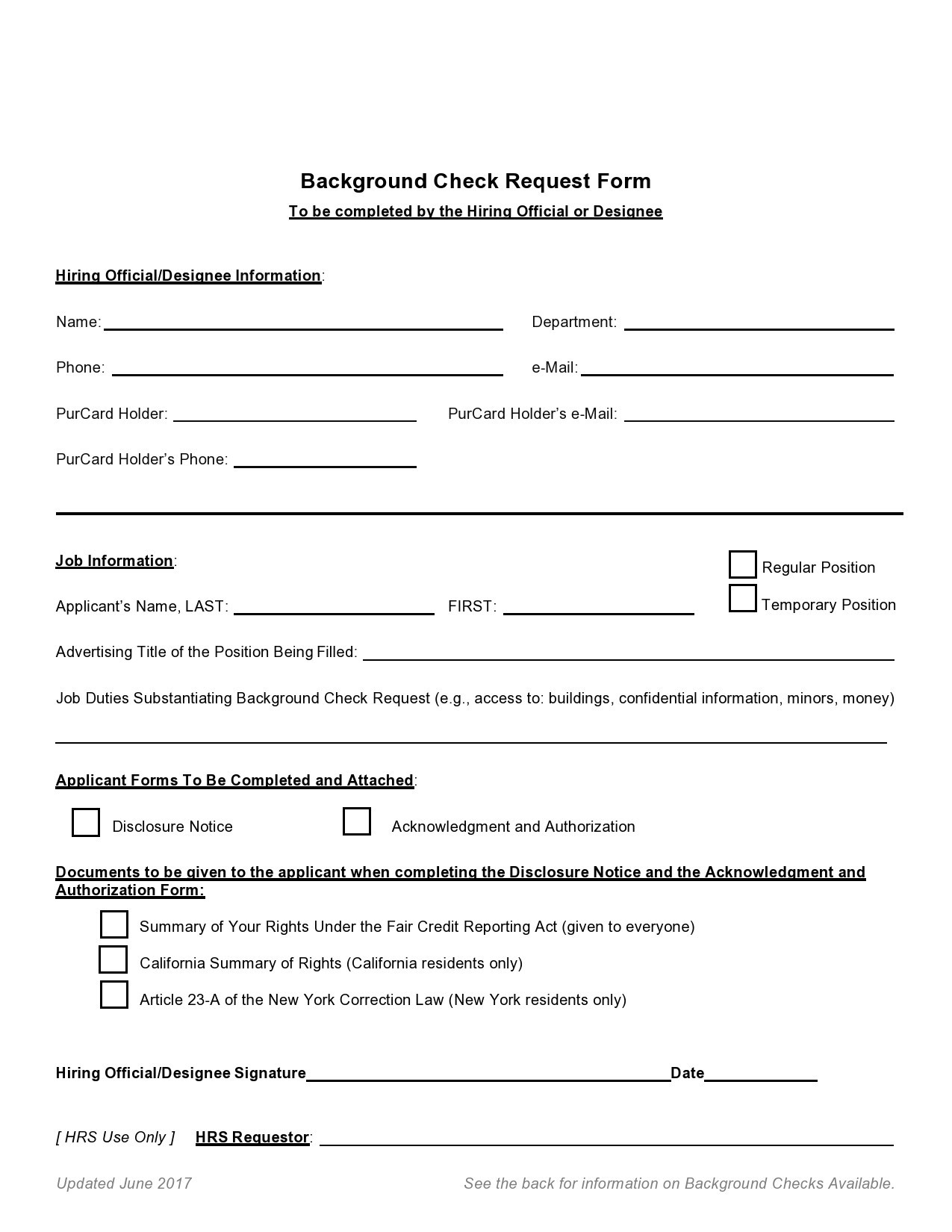 Free background check form 18