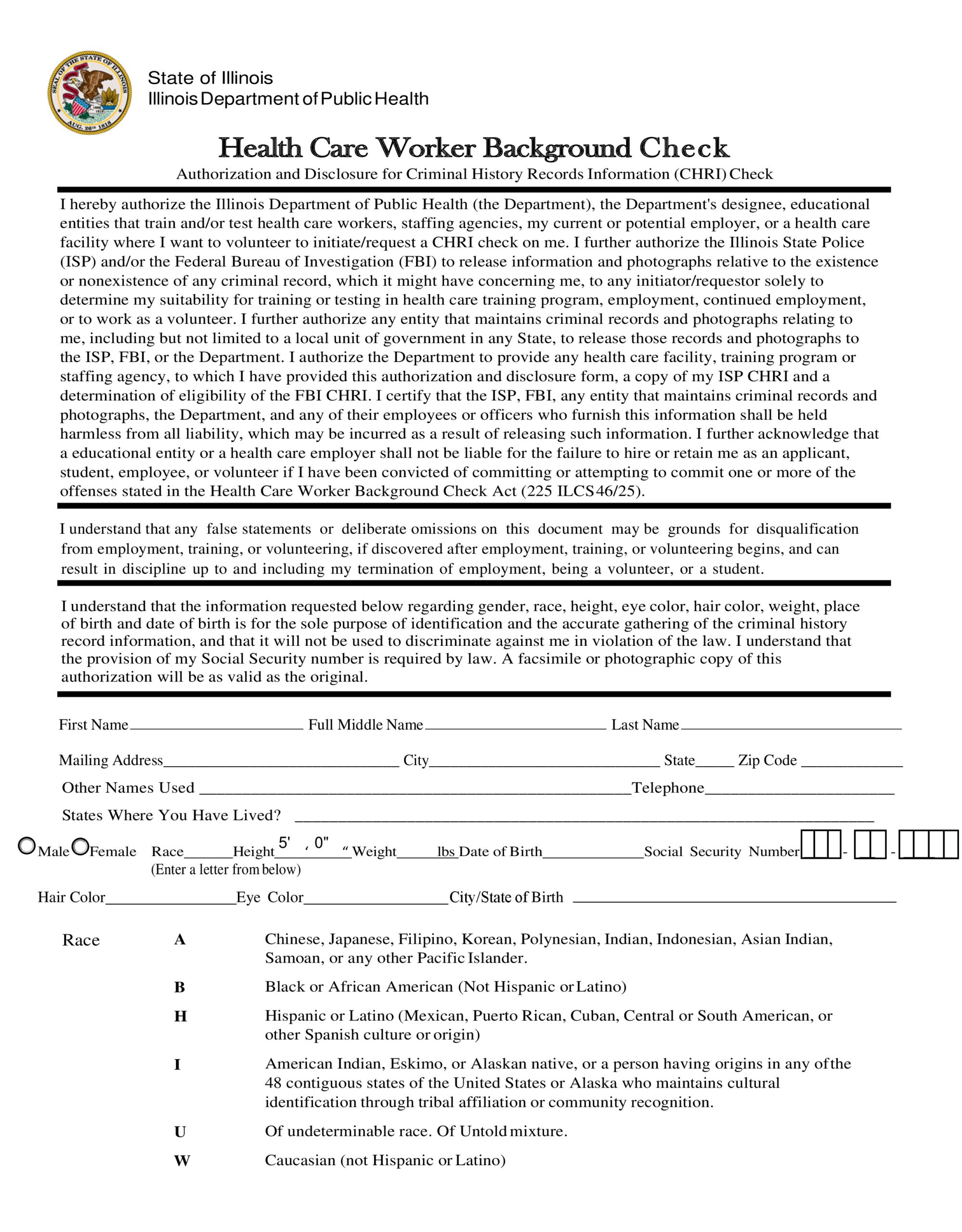Free background check form 23