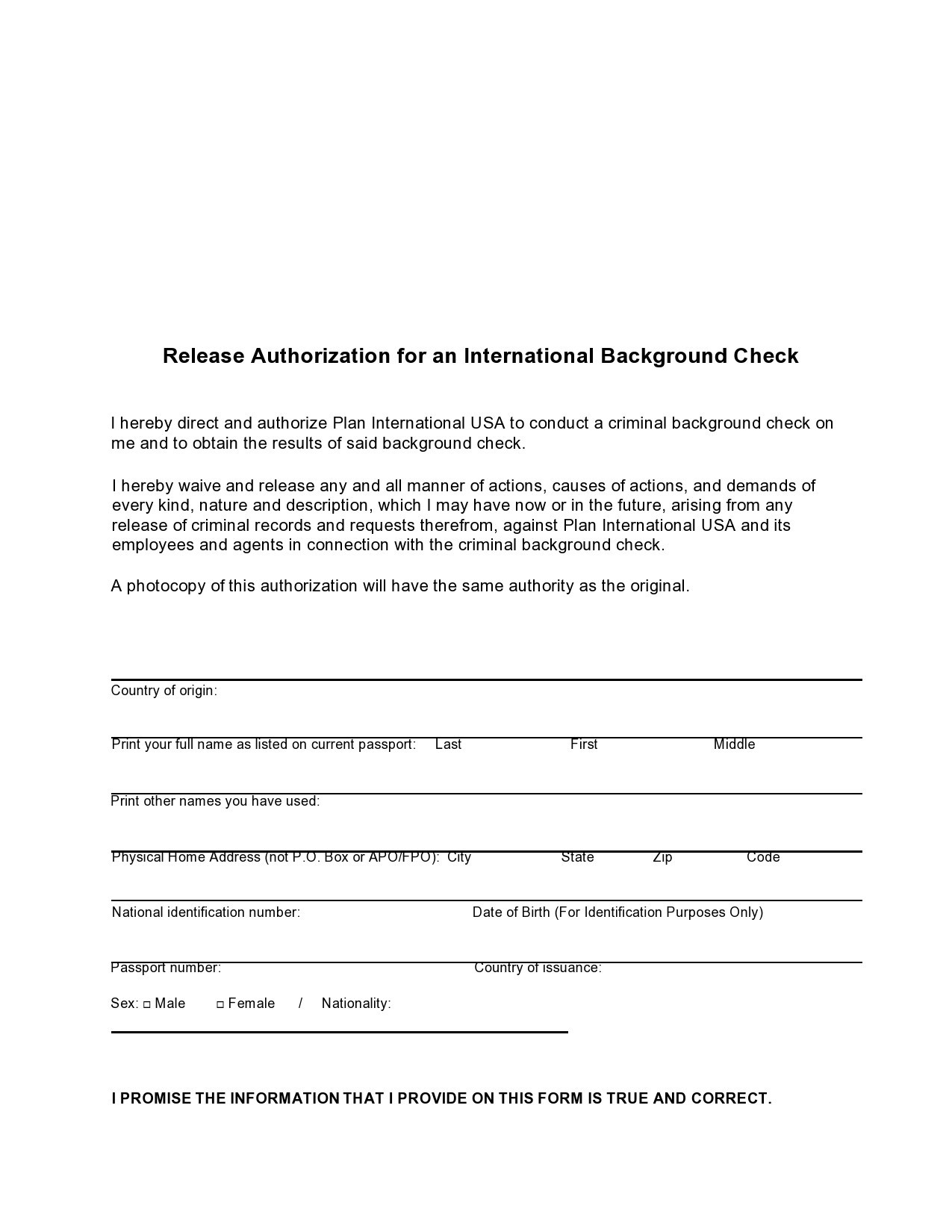 Free background check form 29