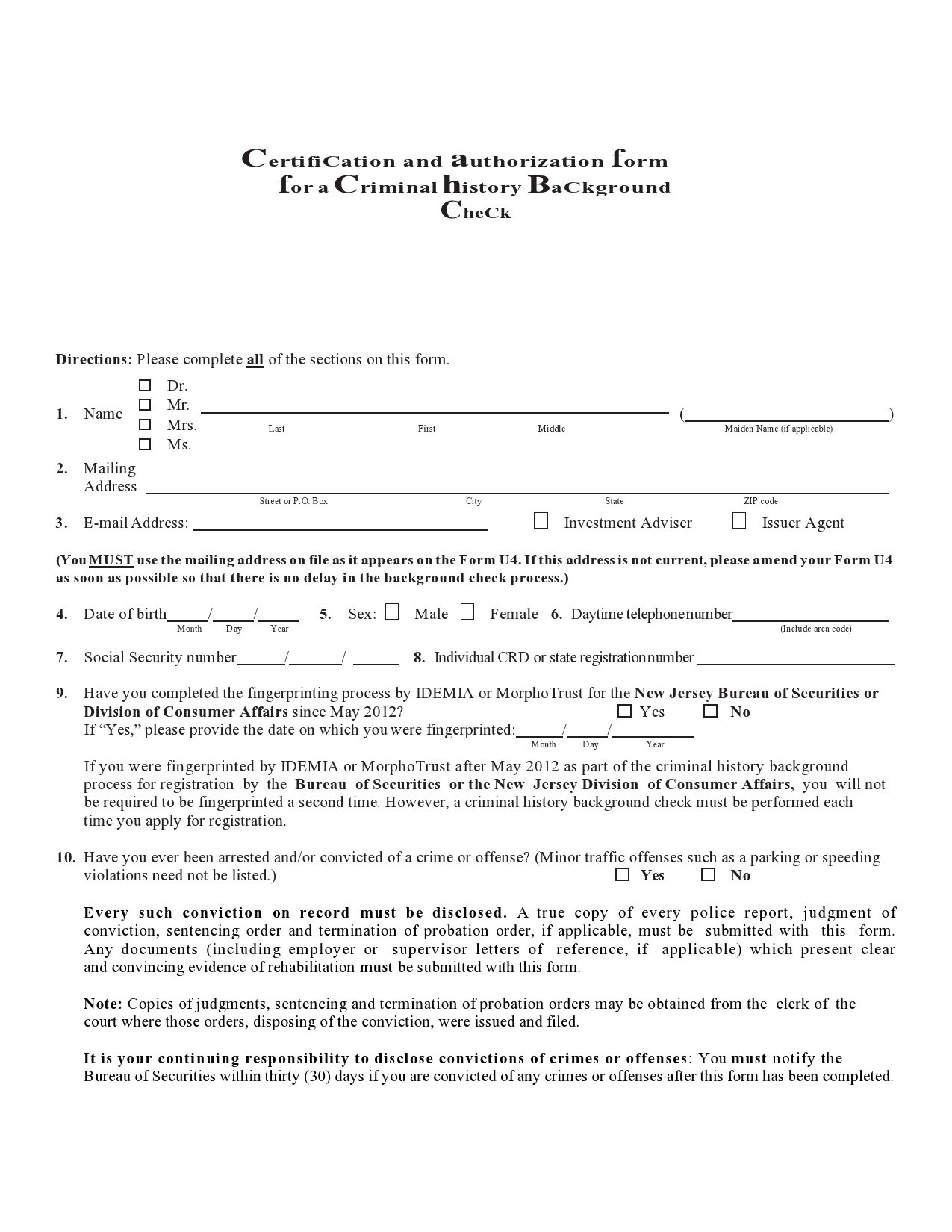 Free background check form 30