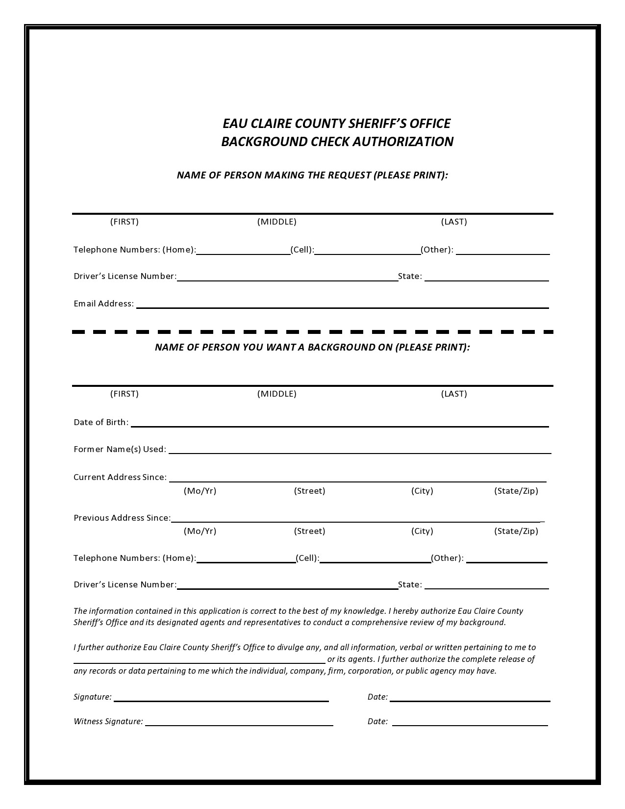 Free background check form 32