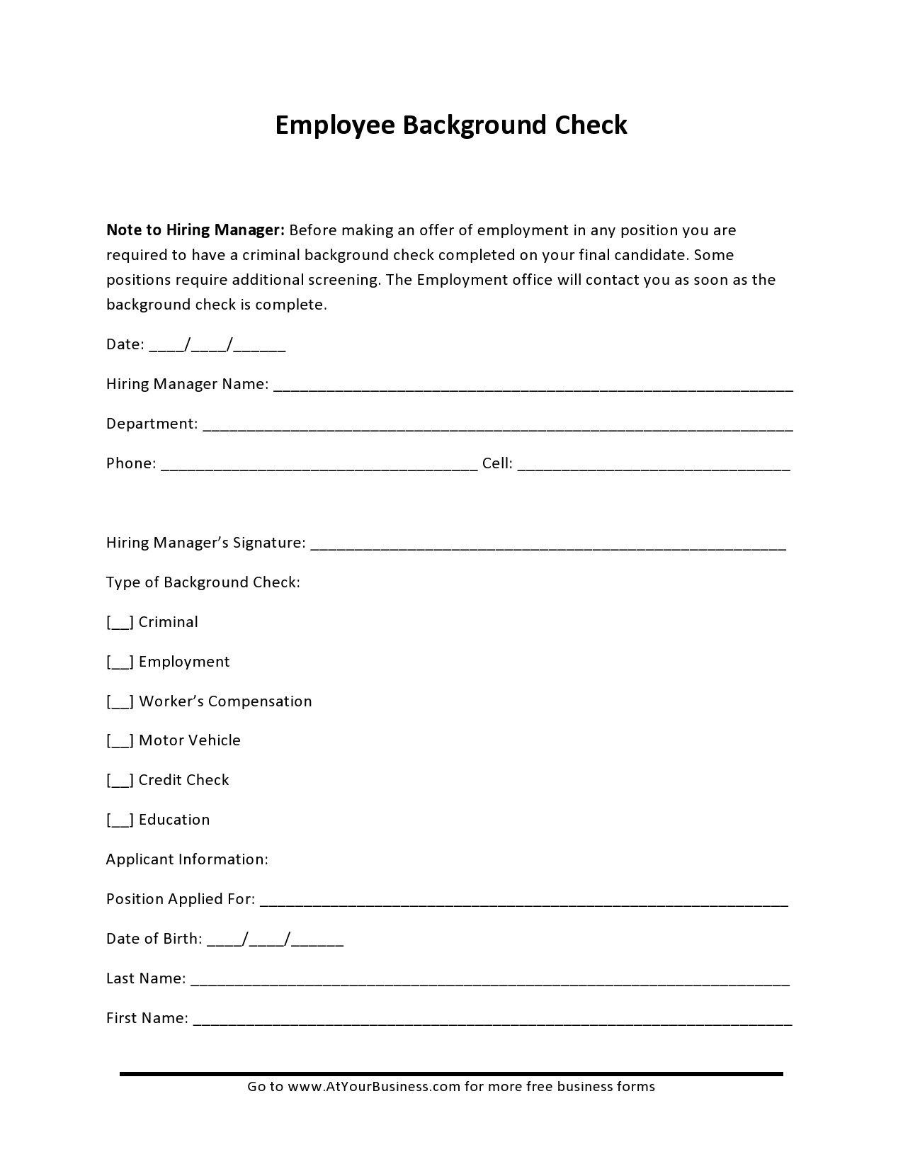 Free background check form 35