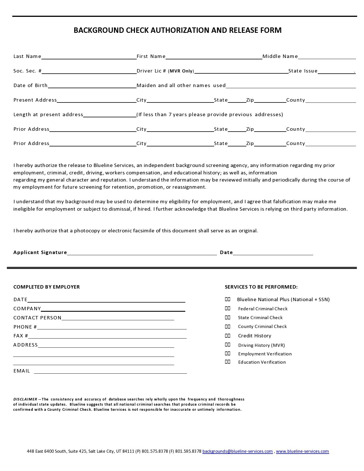 Free background check form 41