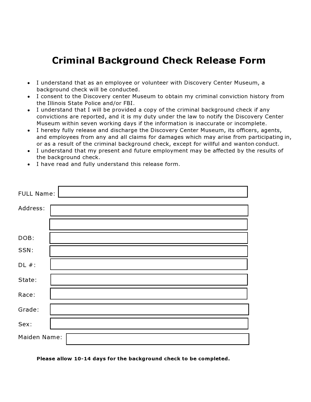Free background check form 44