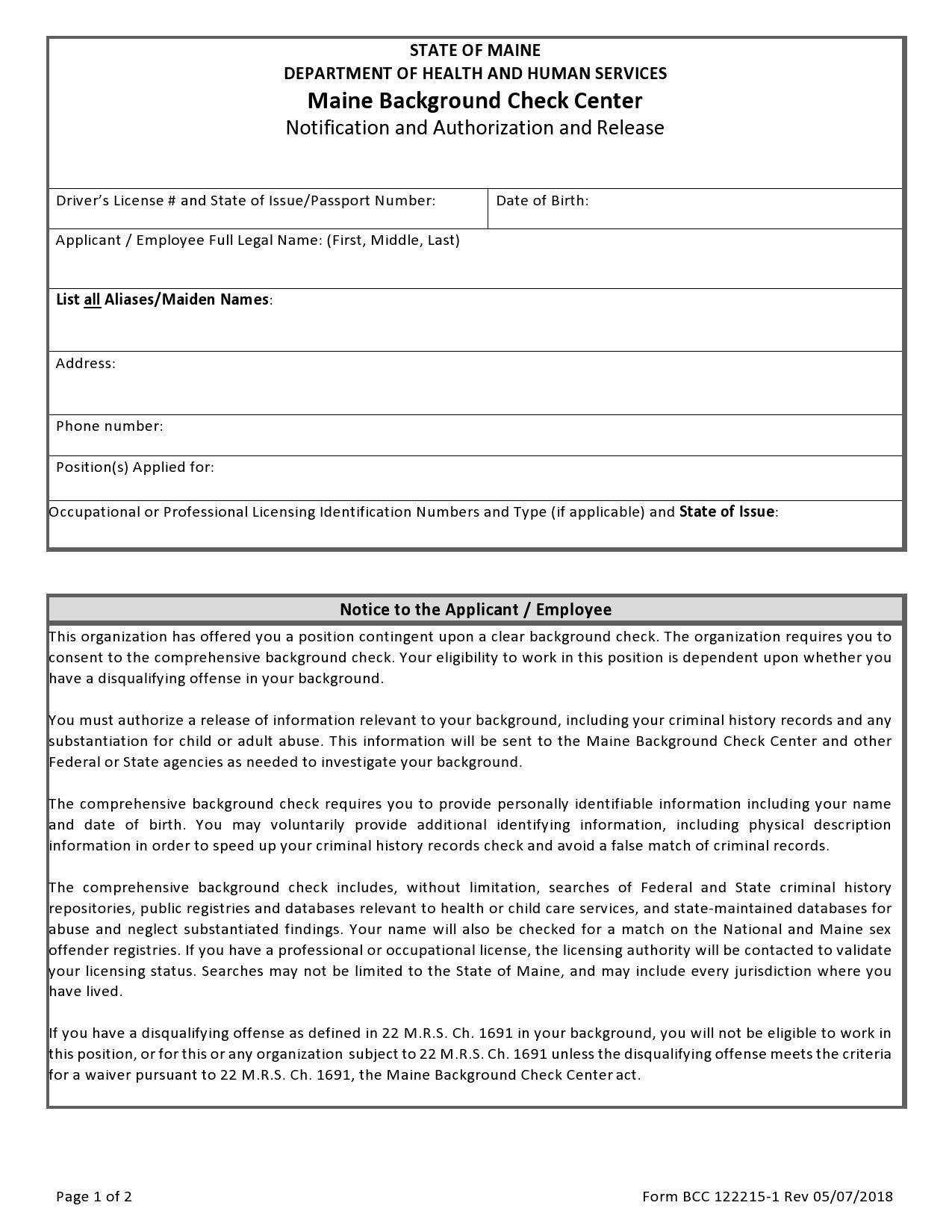 Free background check form 45