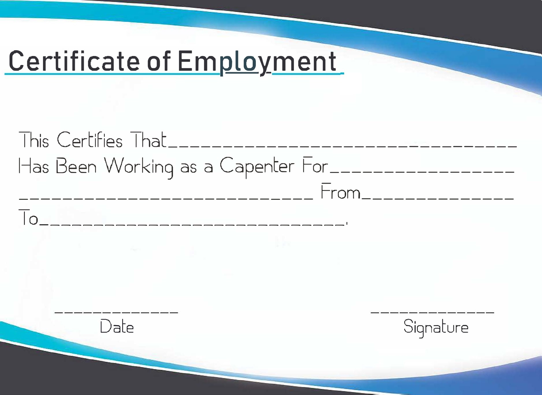 Free certificate of employment 03