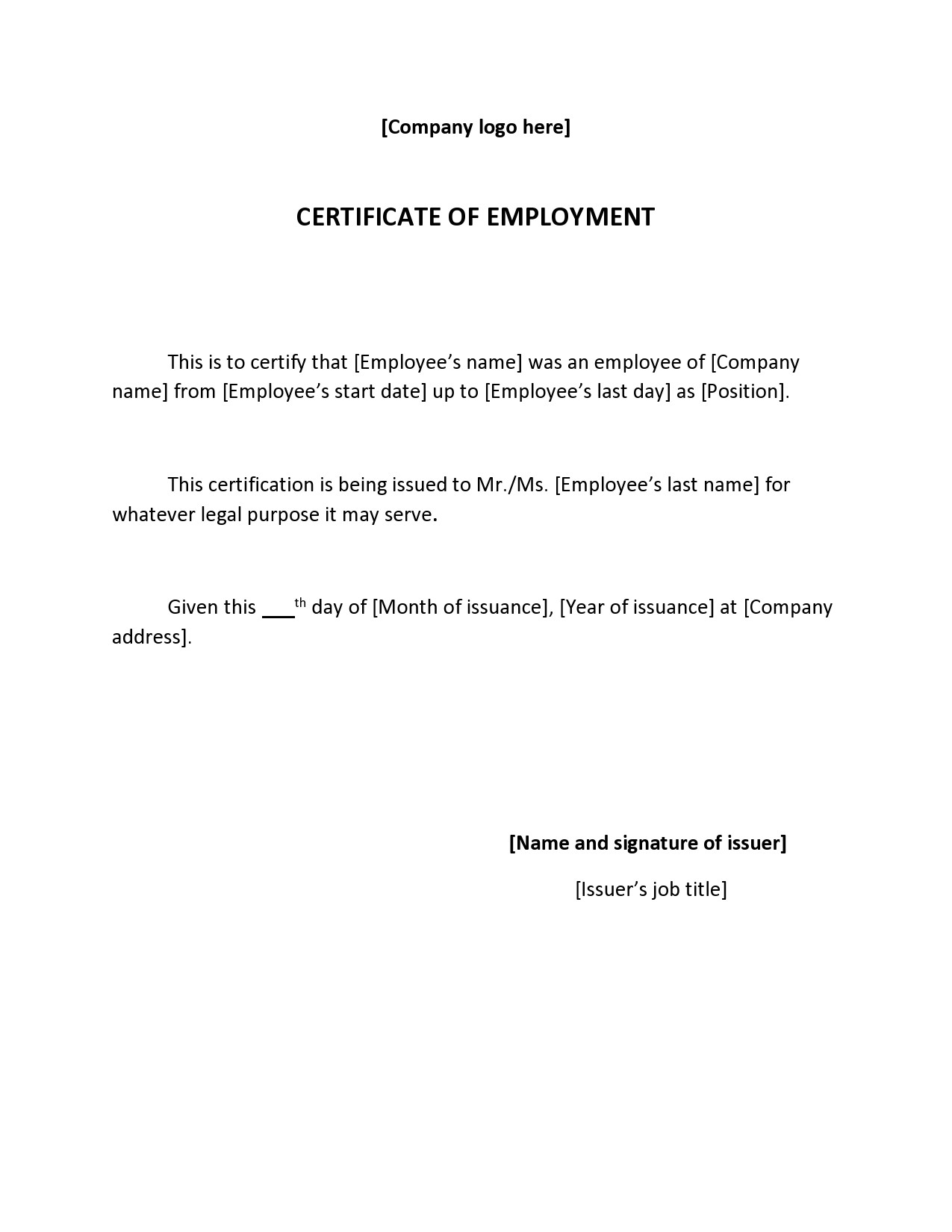 Free certificate of employment 04