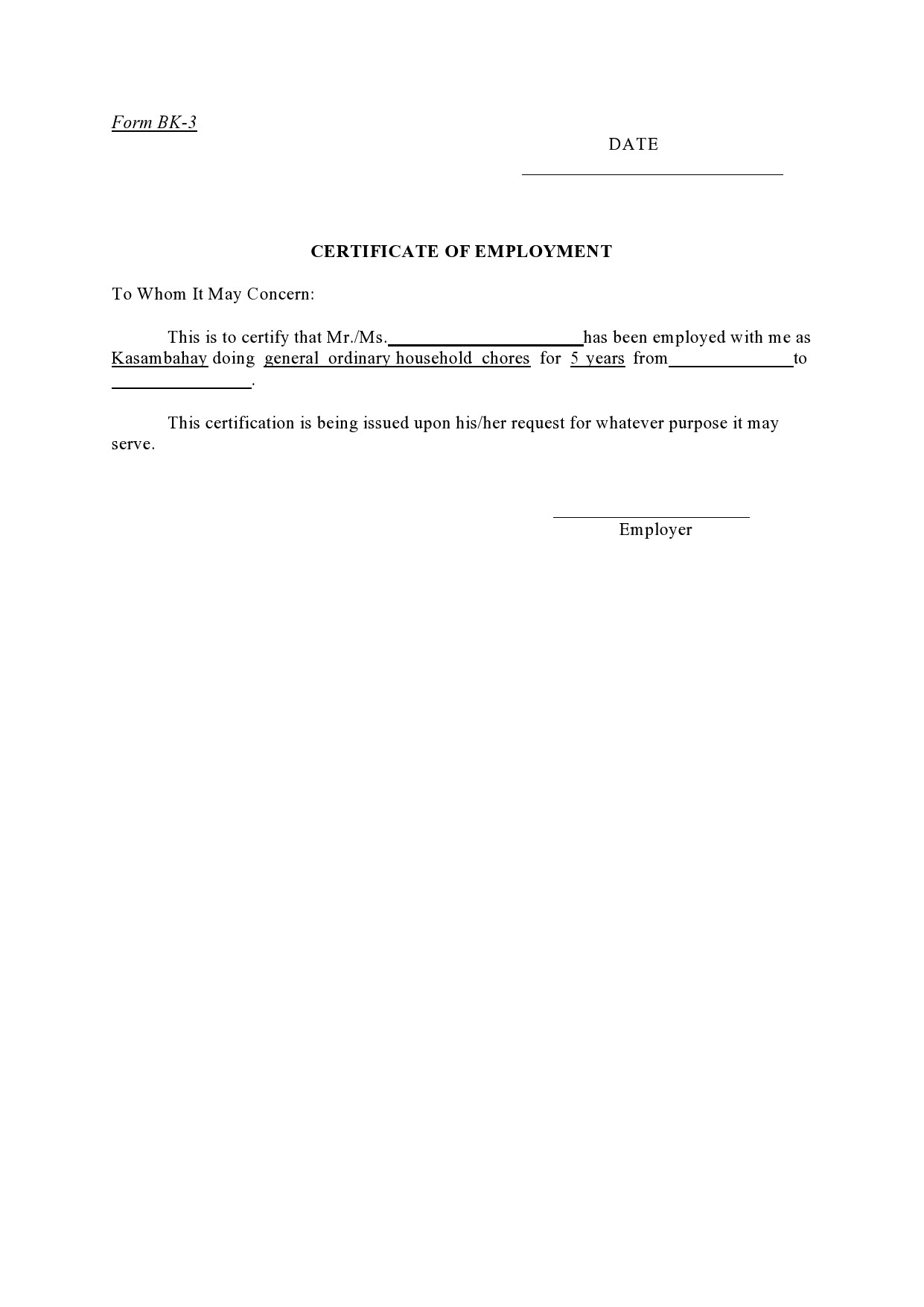 Free certificate of employment 07