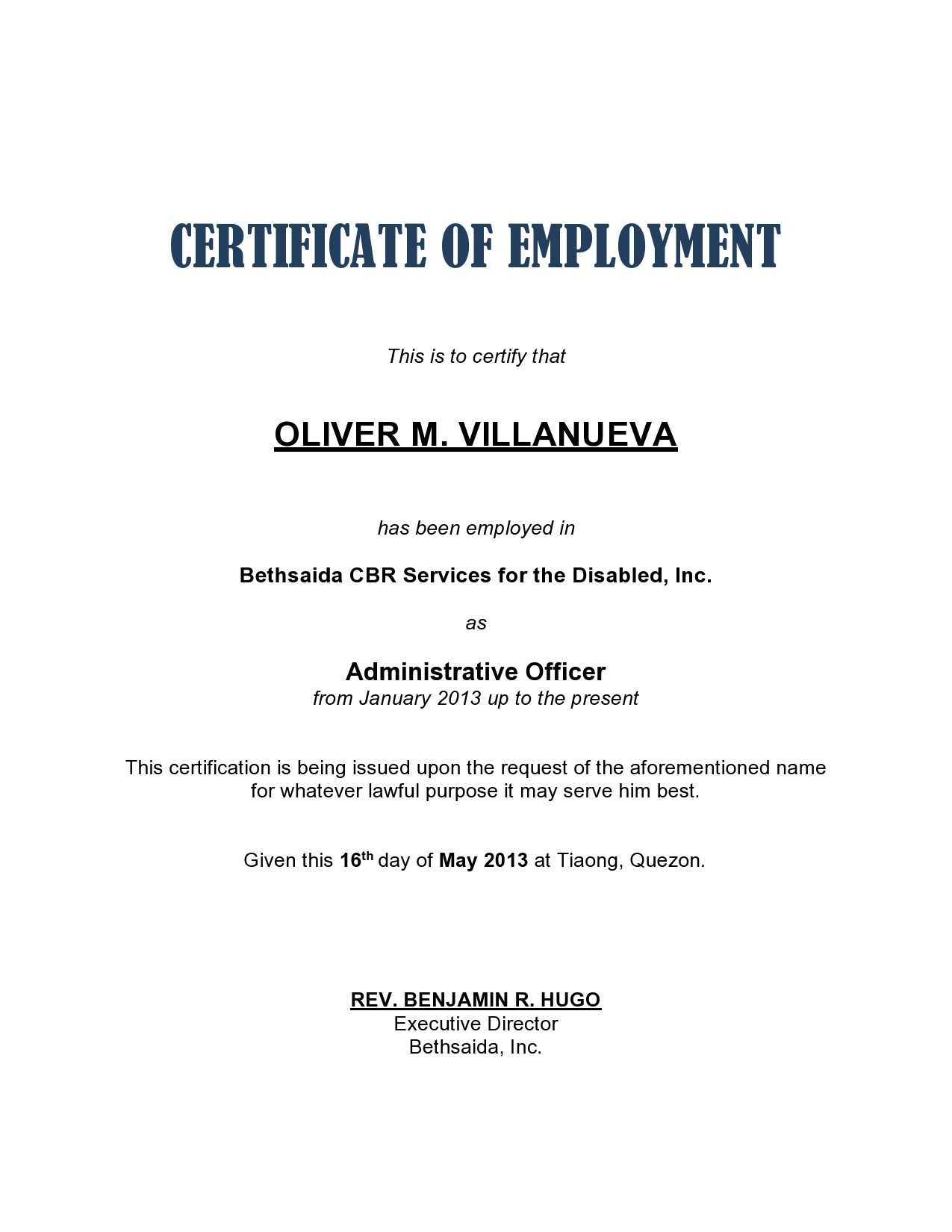 Free certificate of employment 09