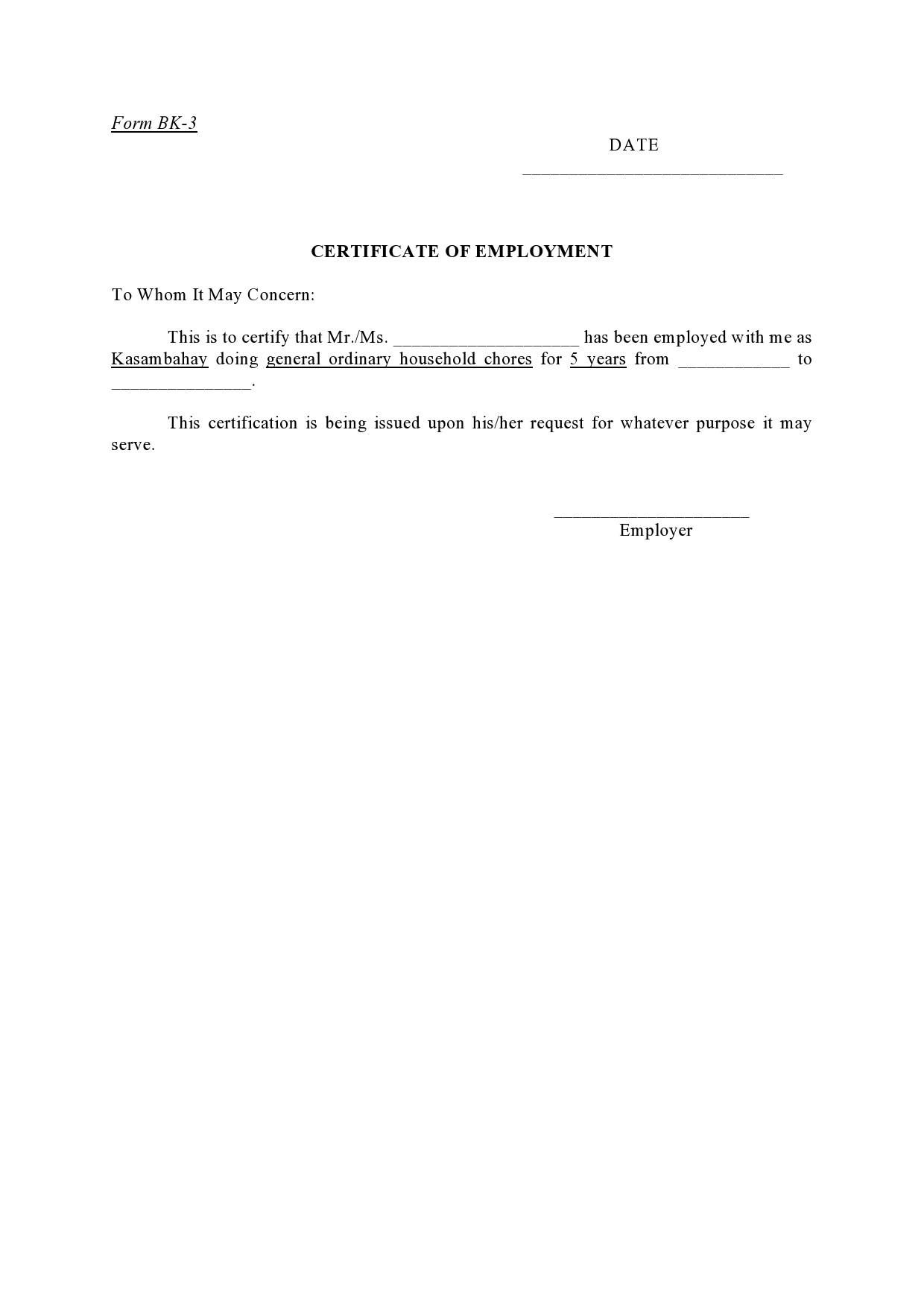 Free certificate of employment 11