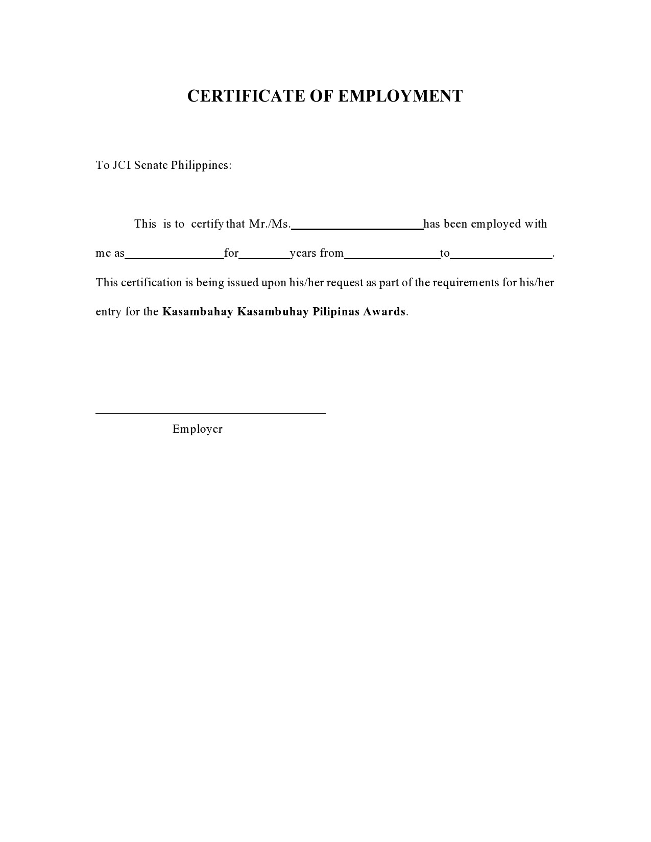 Free certificate of employment 17