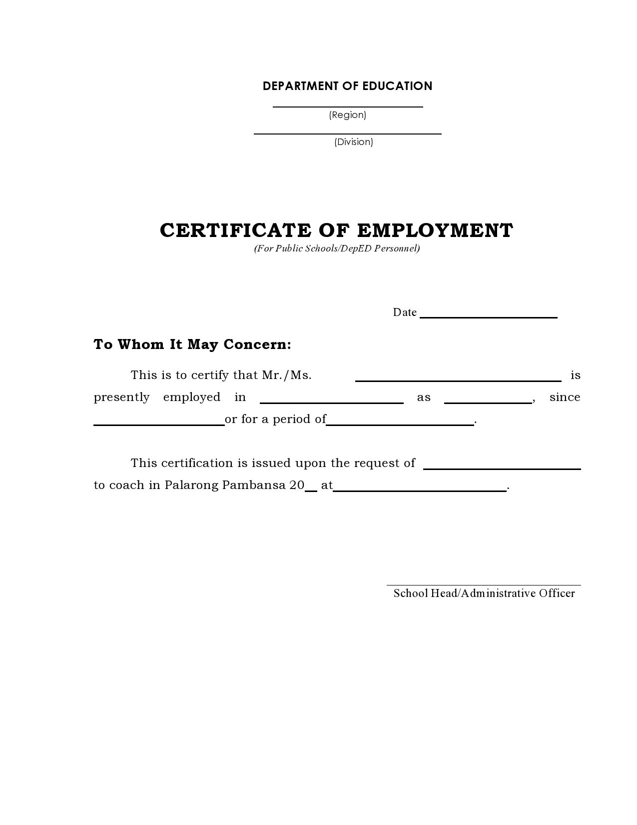 Free certificate of employment 21