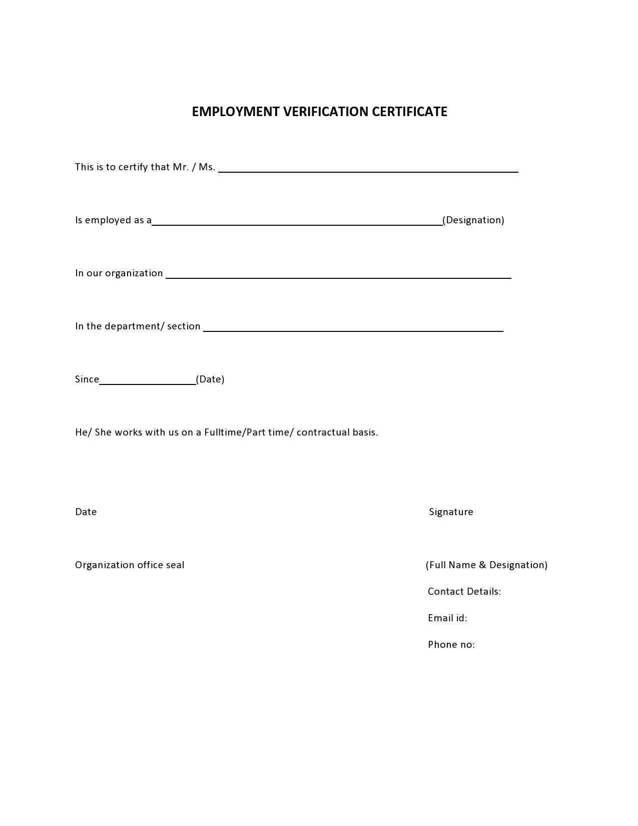 Free certificate of employment 30