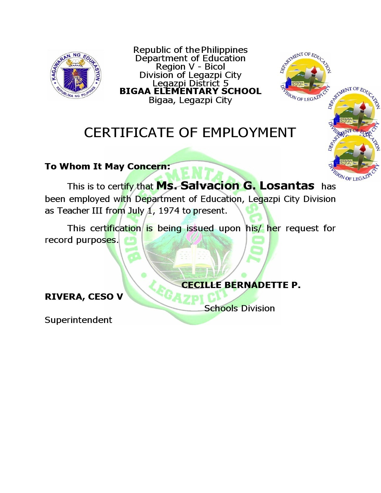 Free certificate of employment 31