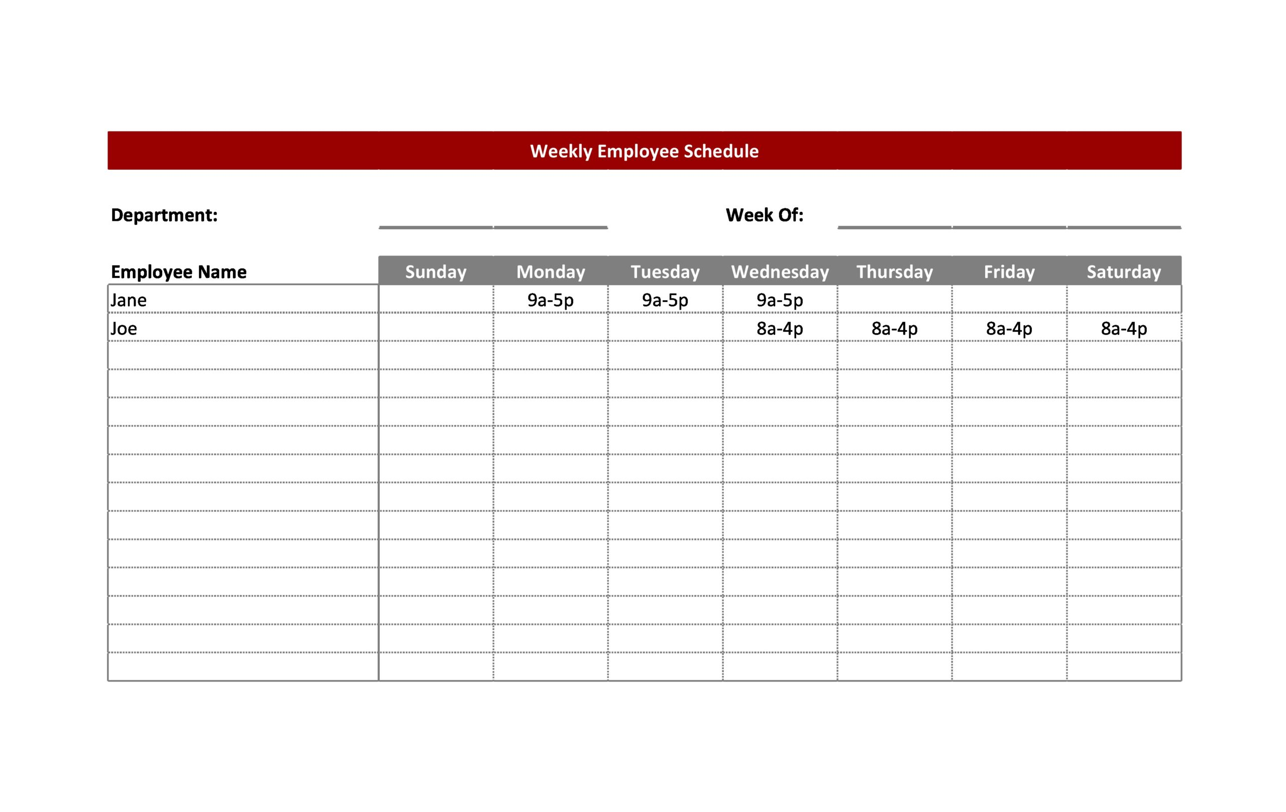 Free employee schedule template 05