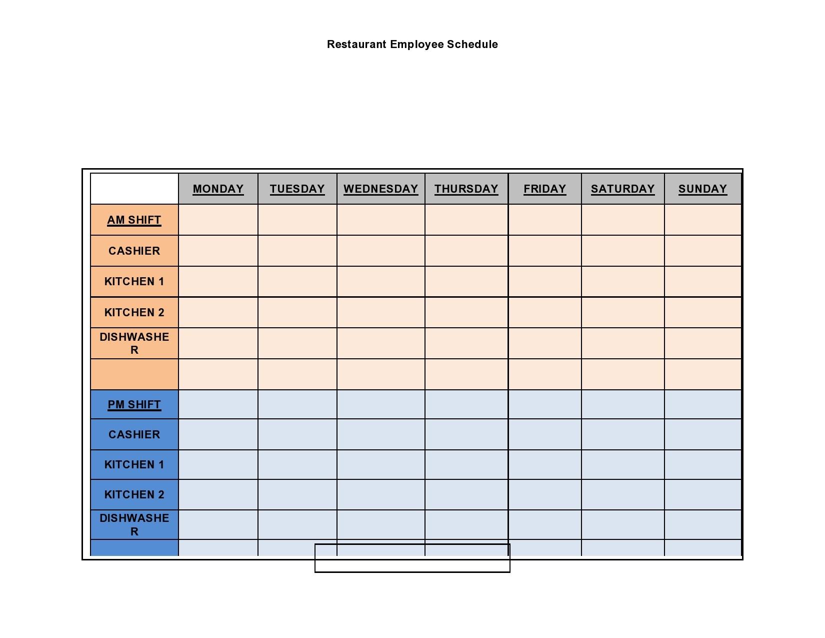 Free employee schedule template 08