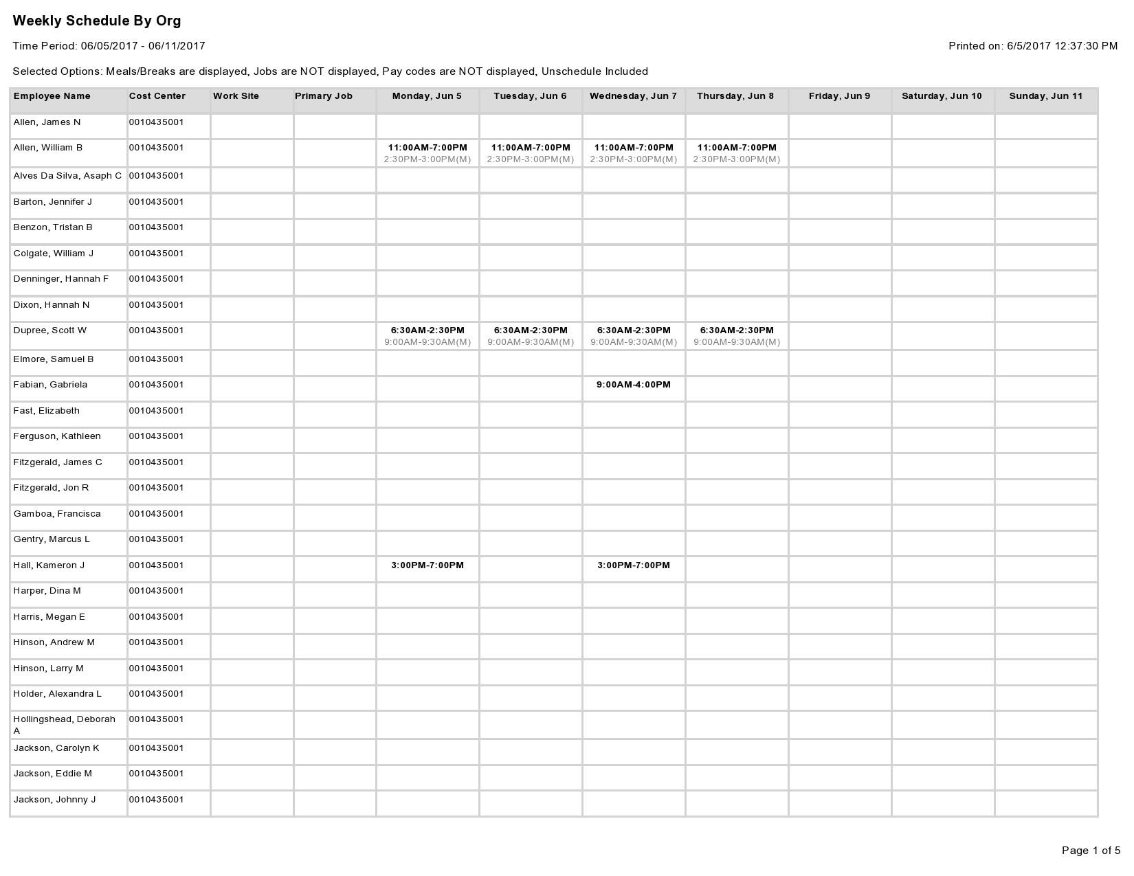 Free employee schedule template 09