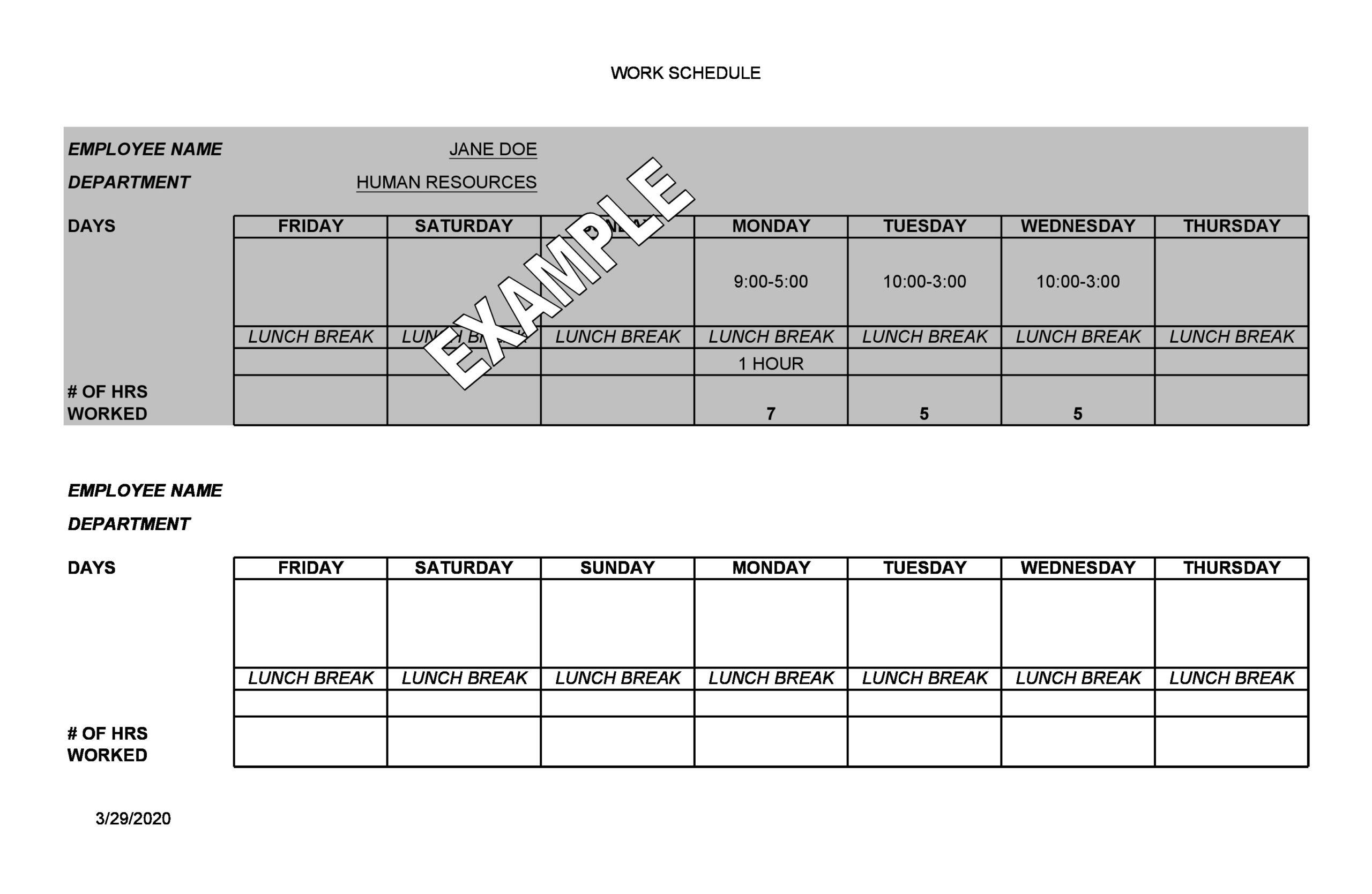 Free employee schedule template 11