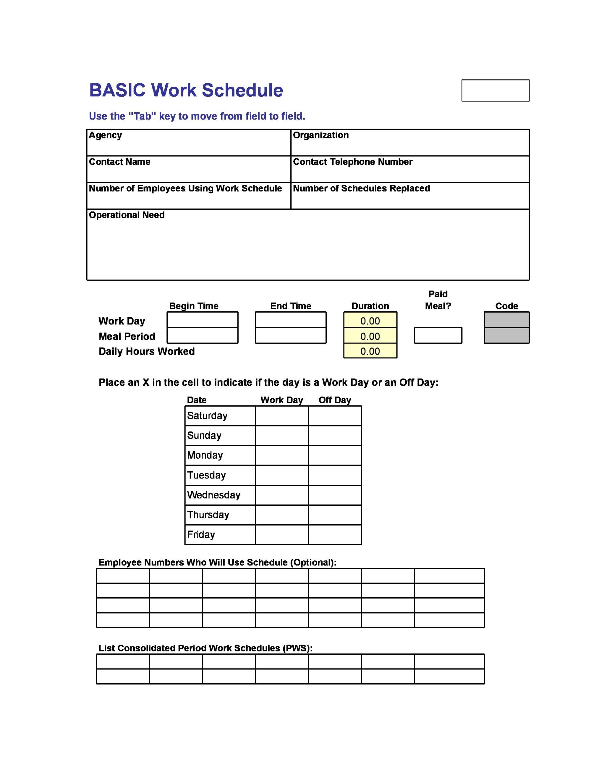 Free employee schedule template 16