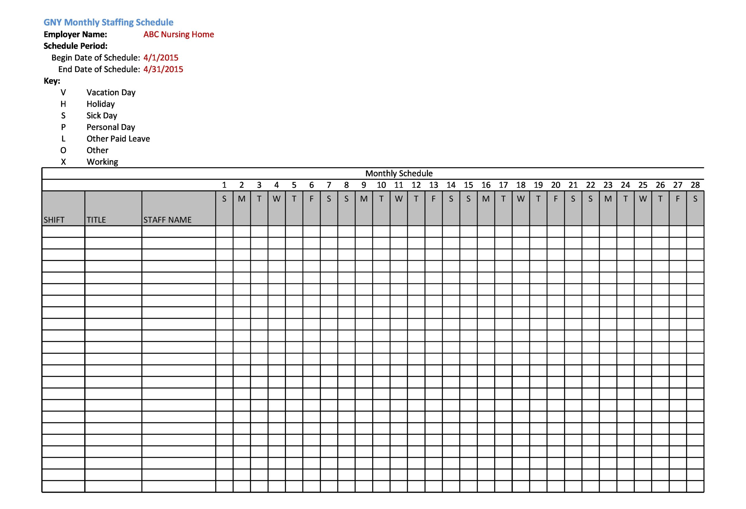 Free employee schedule template 24