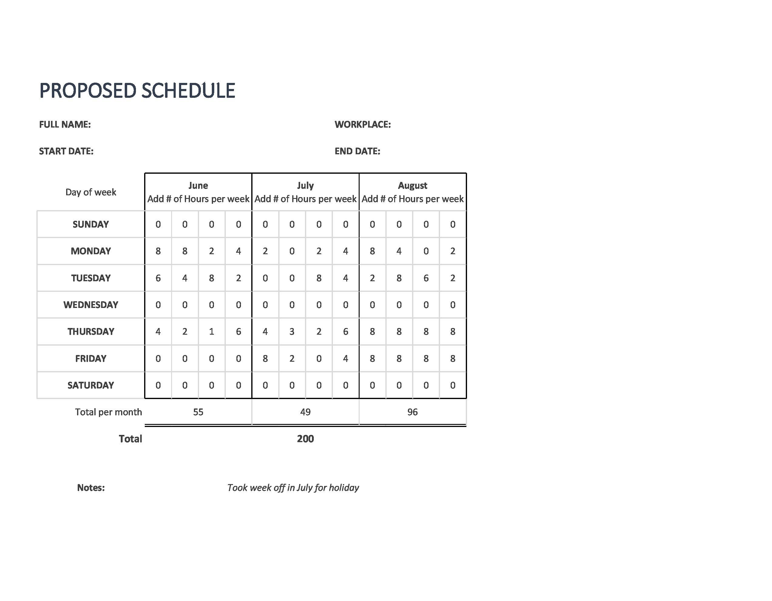 Free employee schedule template 35