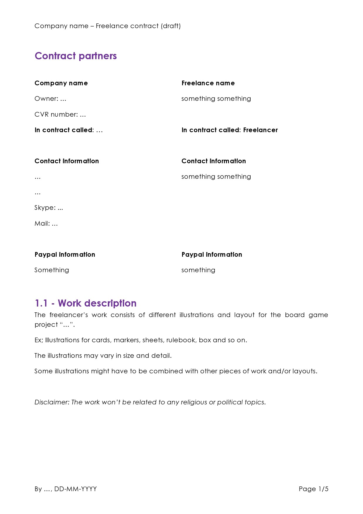 Free freelance contract template 05