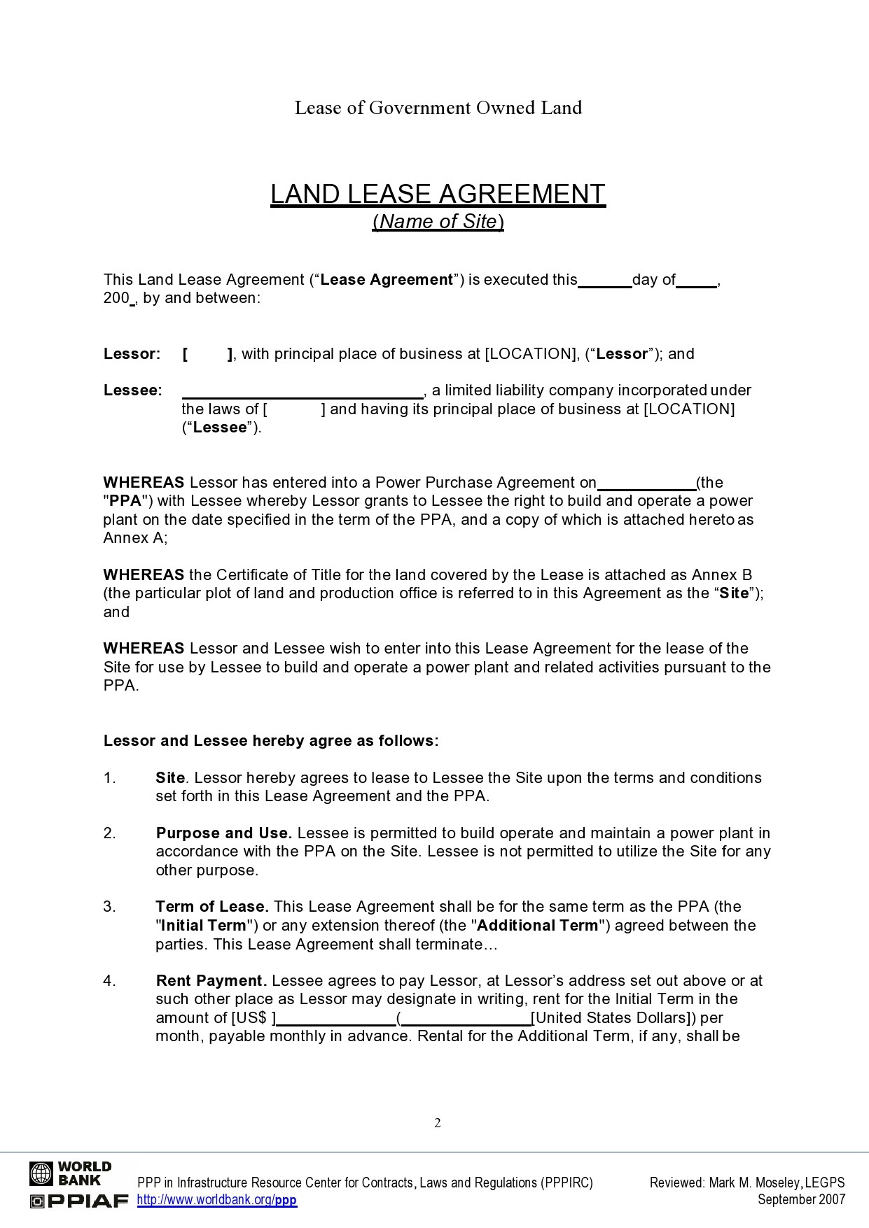 Free land lease agreement 01
