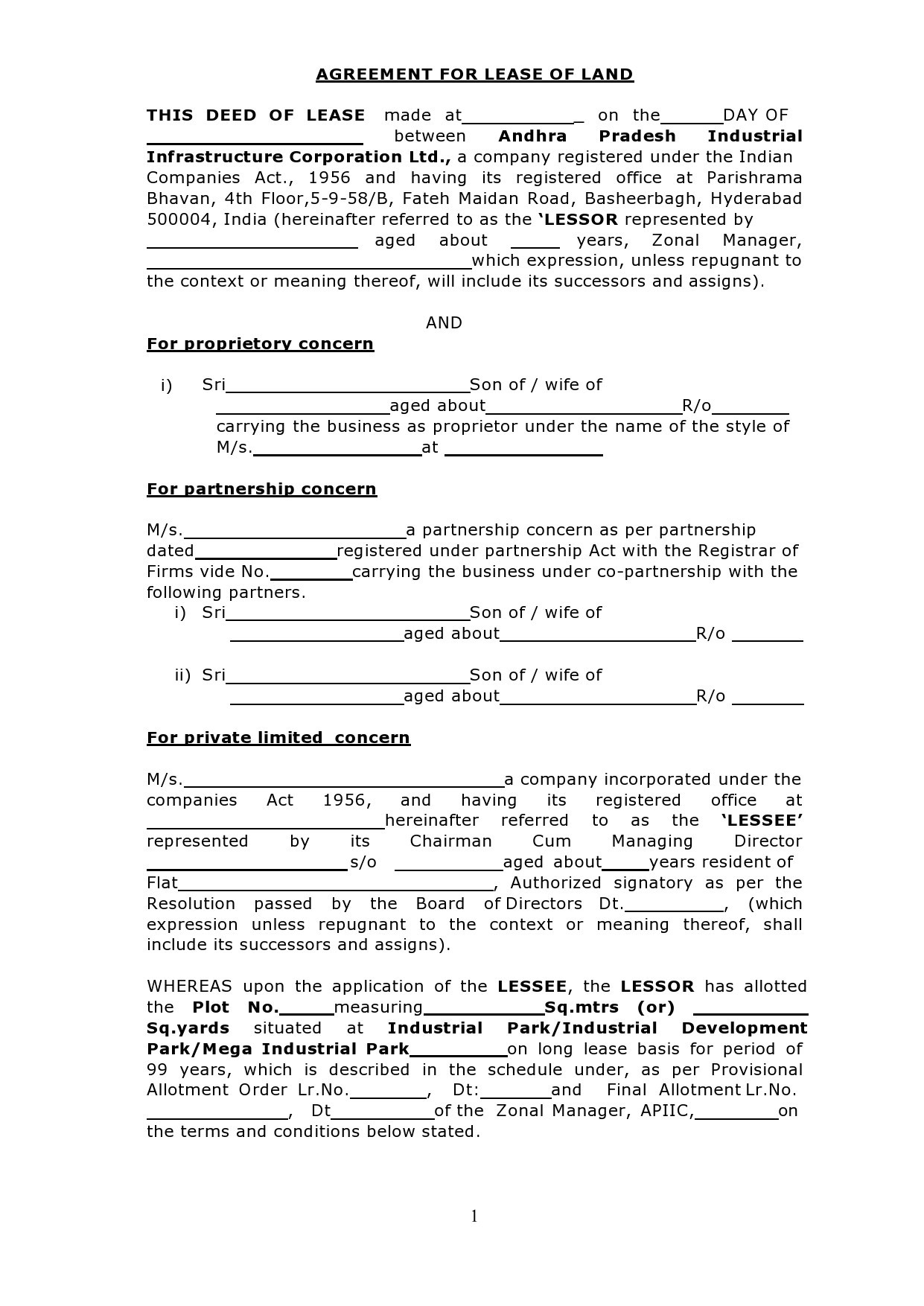 Free land lease agreement 03