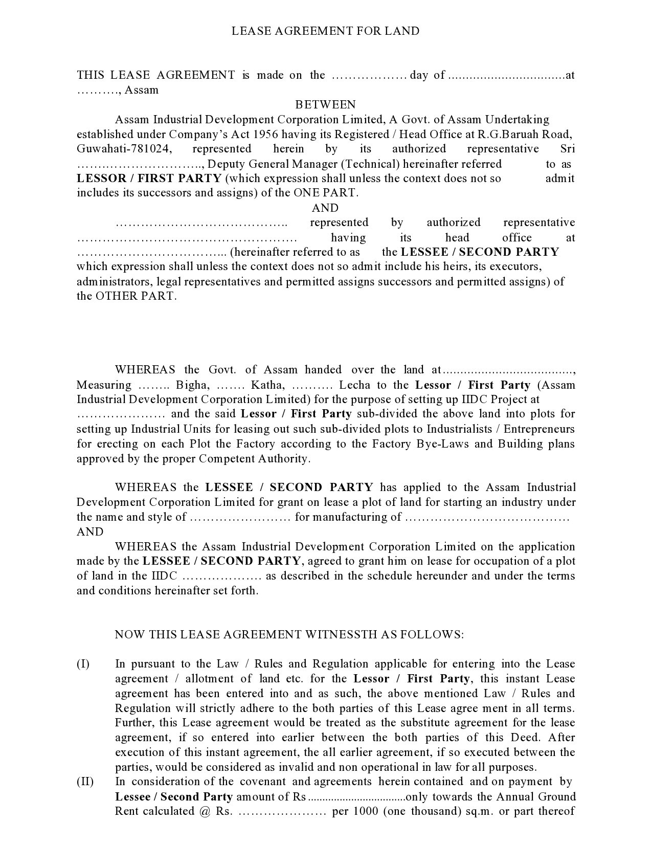 Free land lease agreement 05