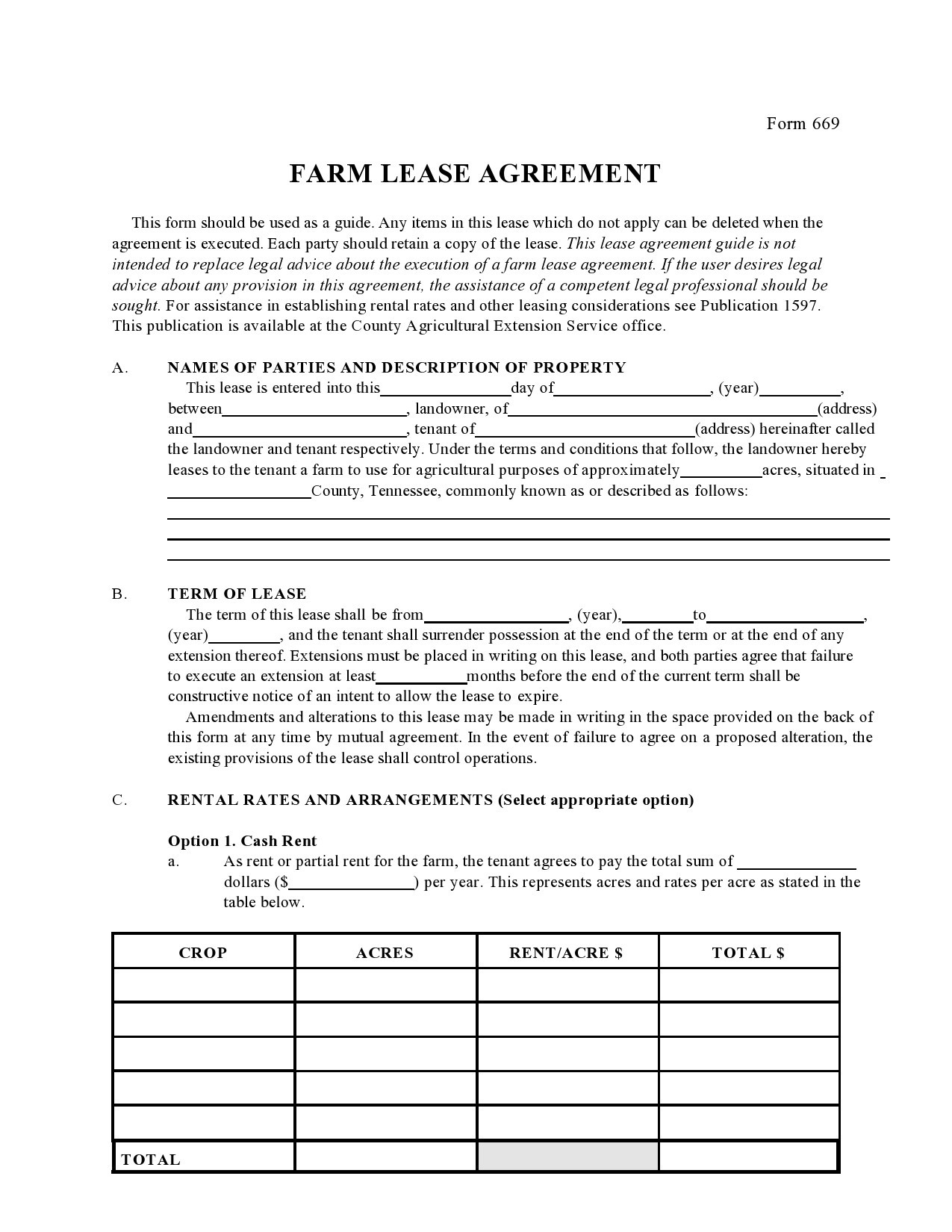 Free land lease agreement 08
