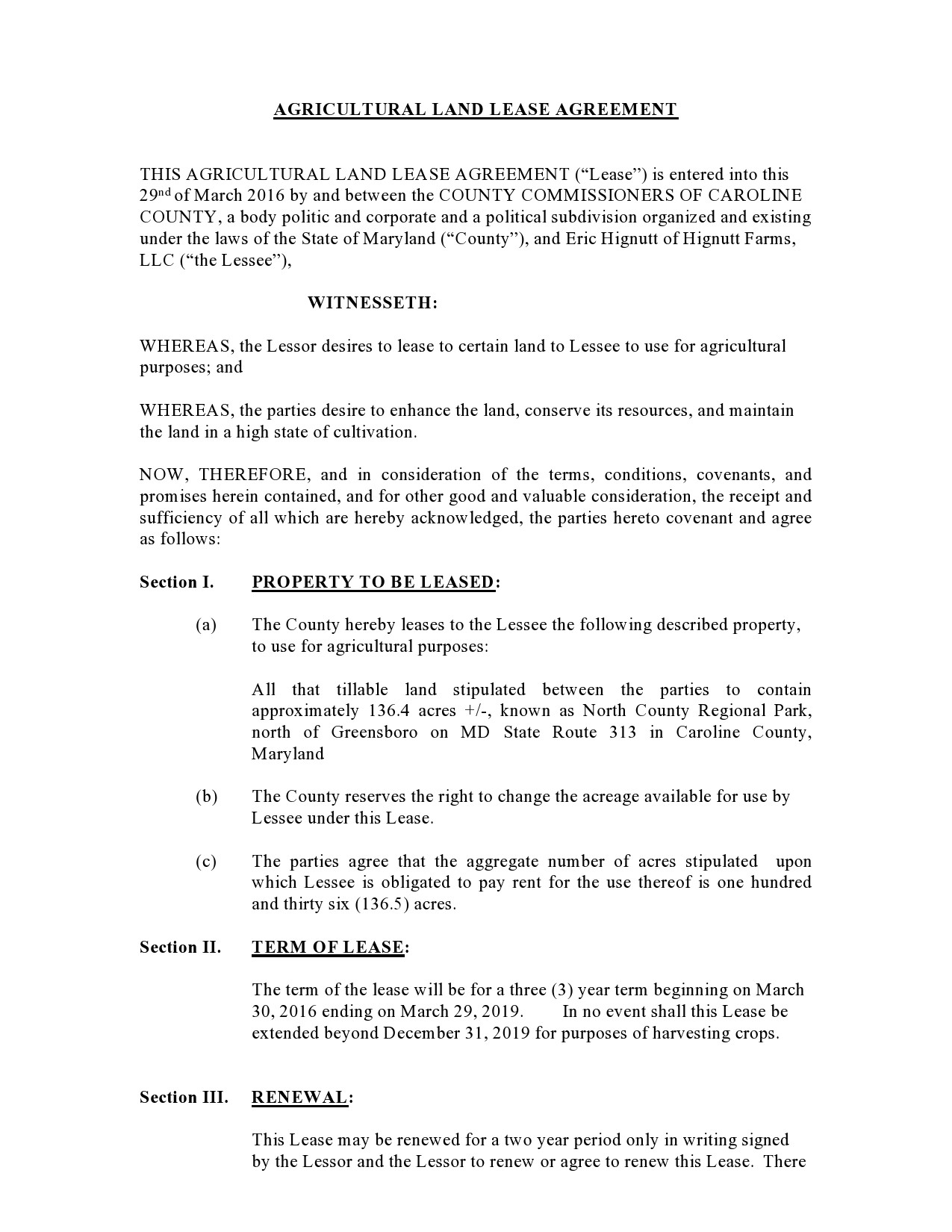 Free land lease agreement 12