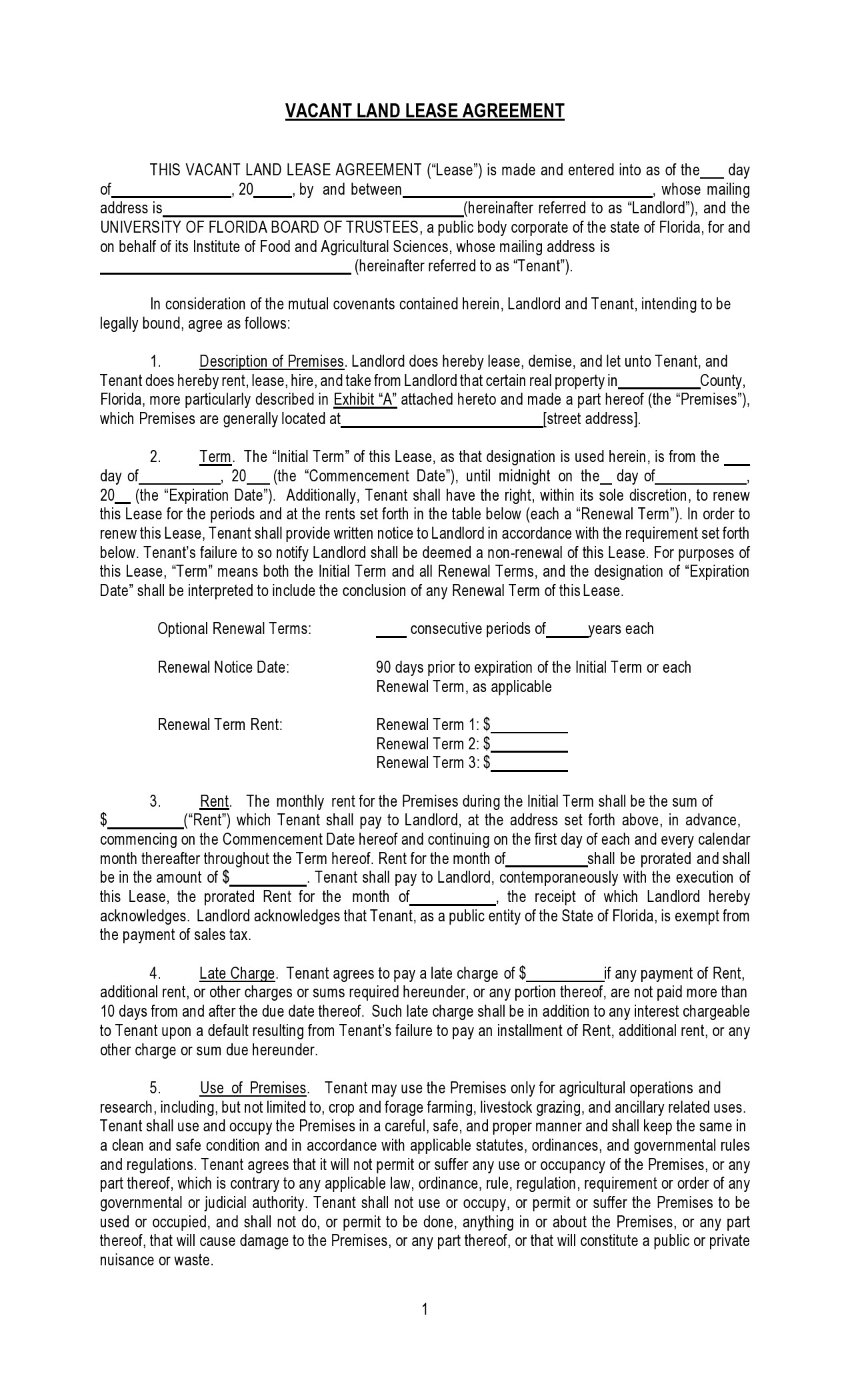 Free land lease agreement 15