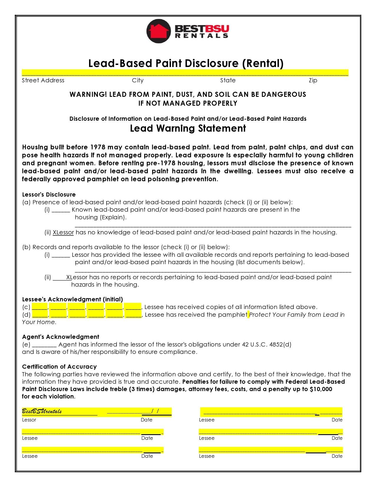 Free lead paint disclosure 21