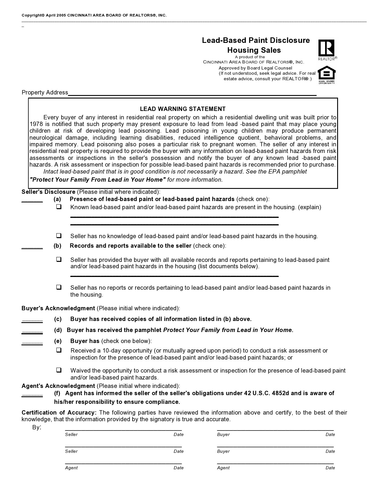 Free lead paint disclosure 25