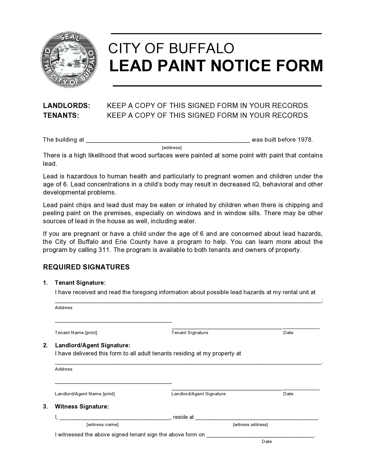 Free lead paint disclosure 50
