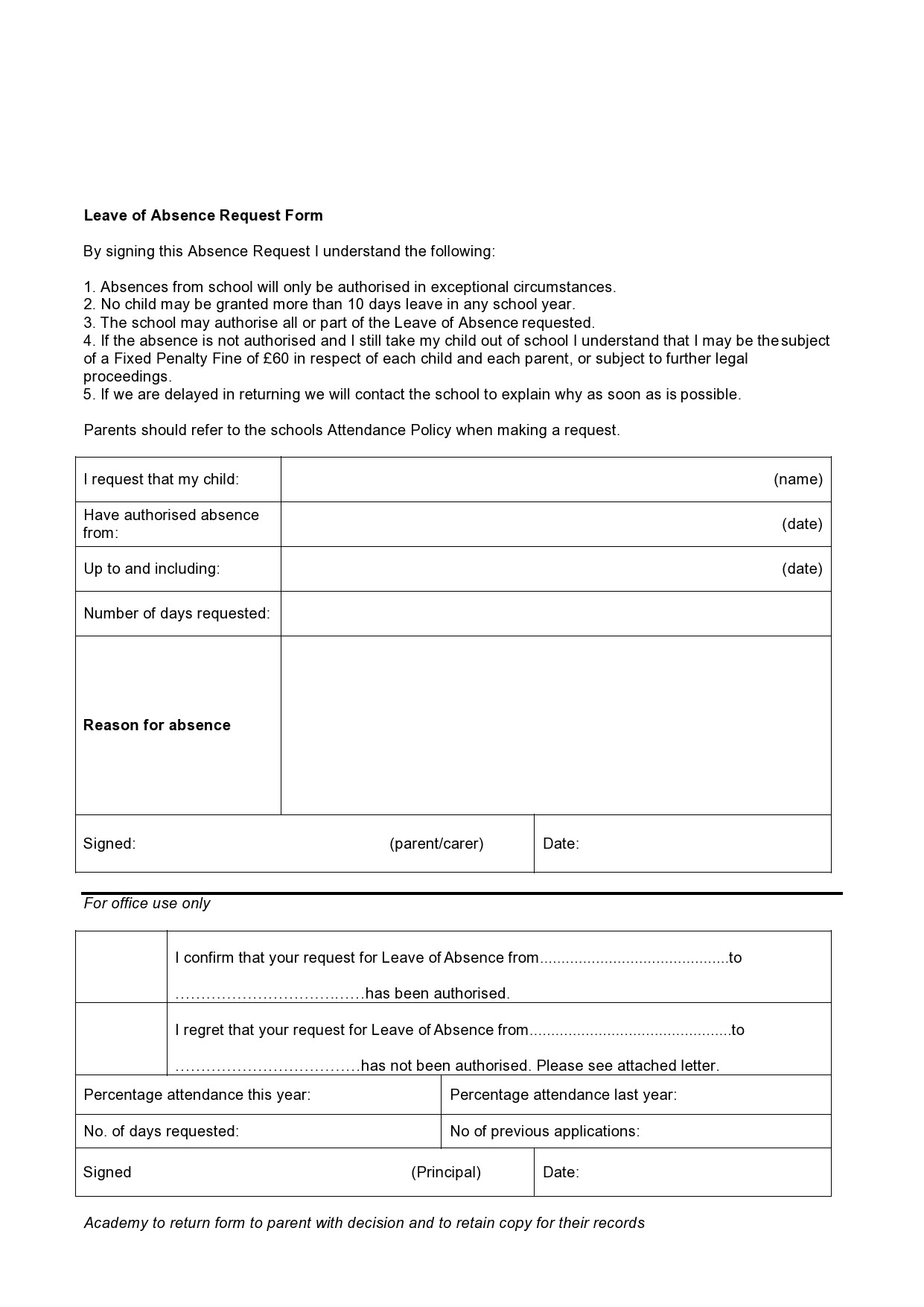 Free leave of absence letter 10