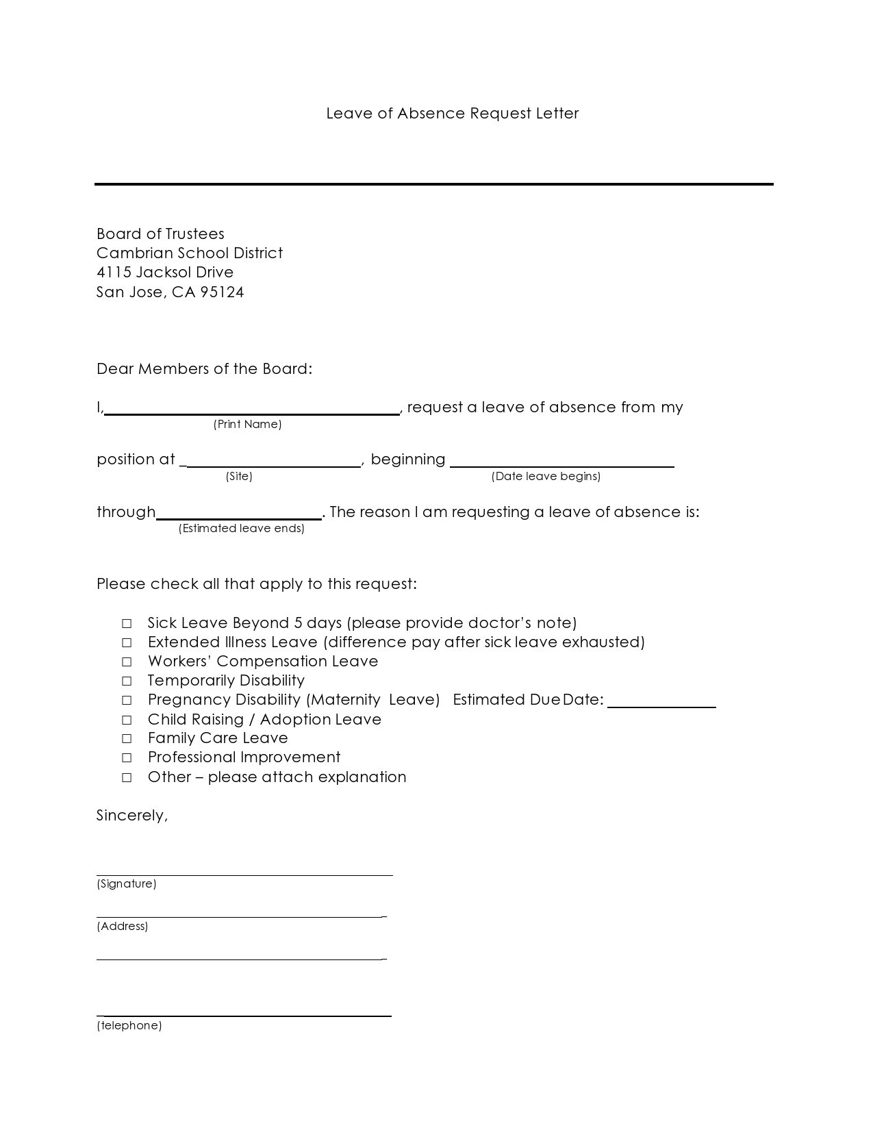 Free leave of absence letter 12