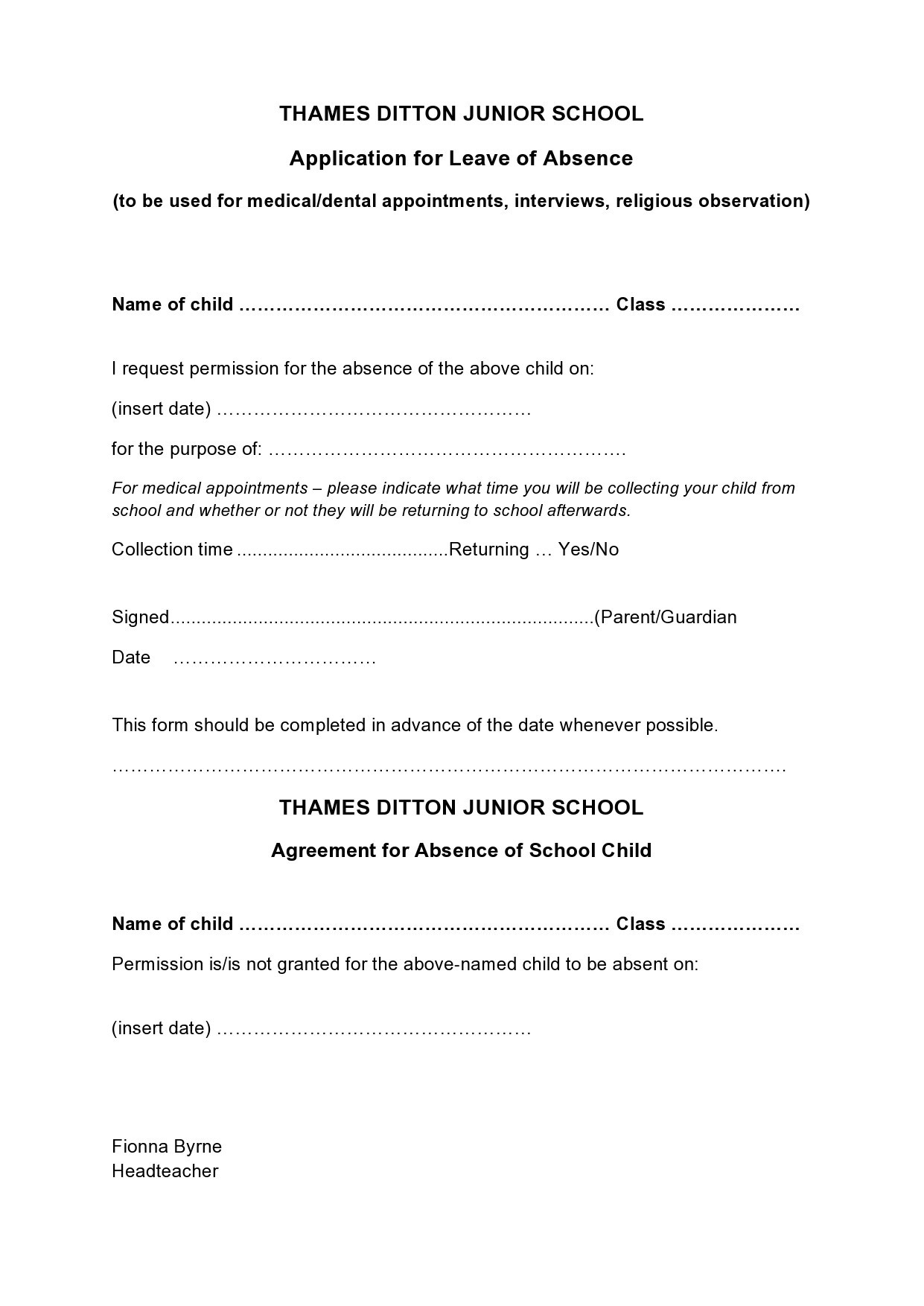 Free leave of absence letter 16