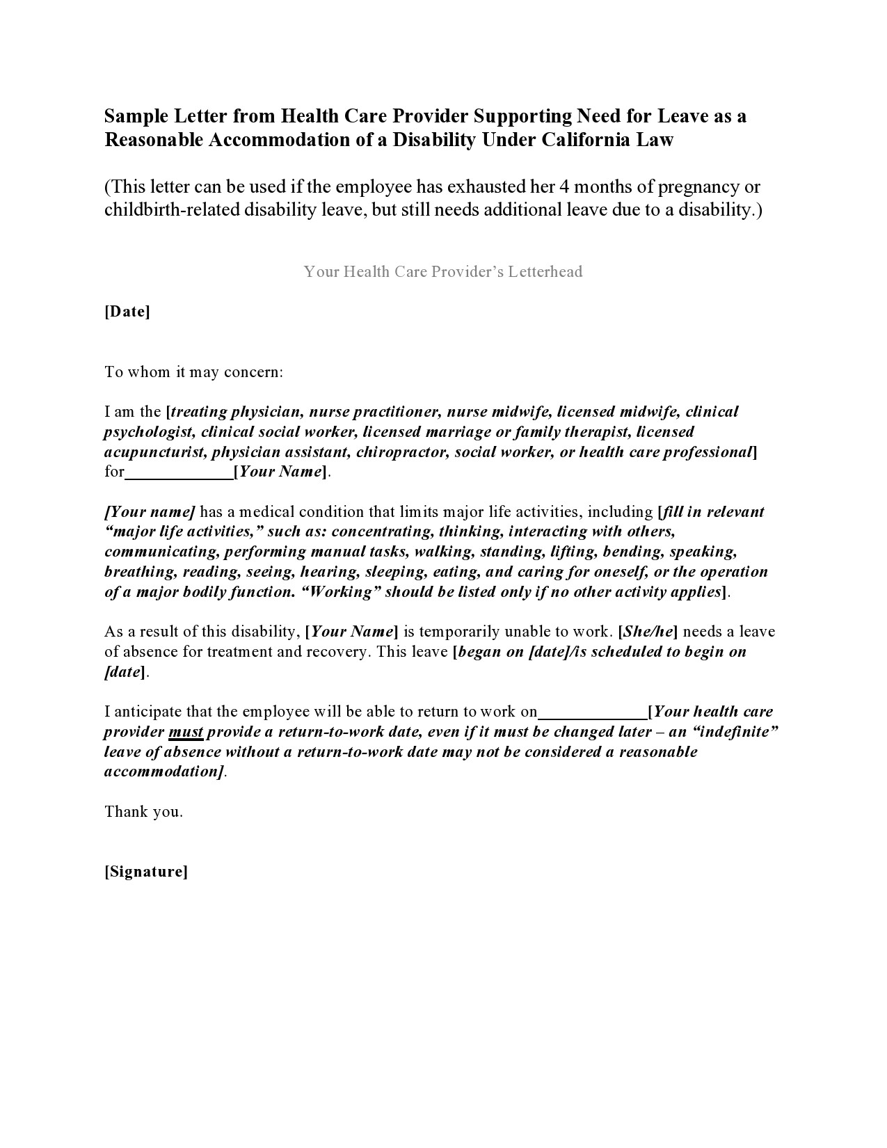 Free leave of absence letter 28