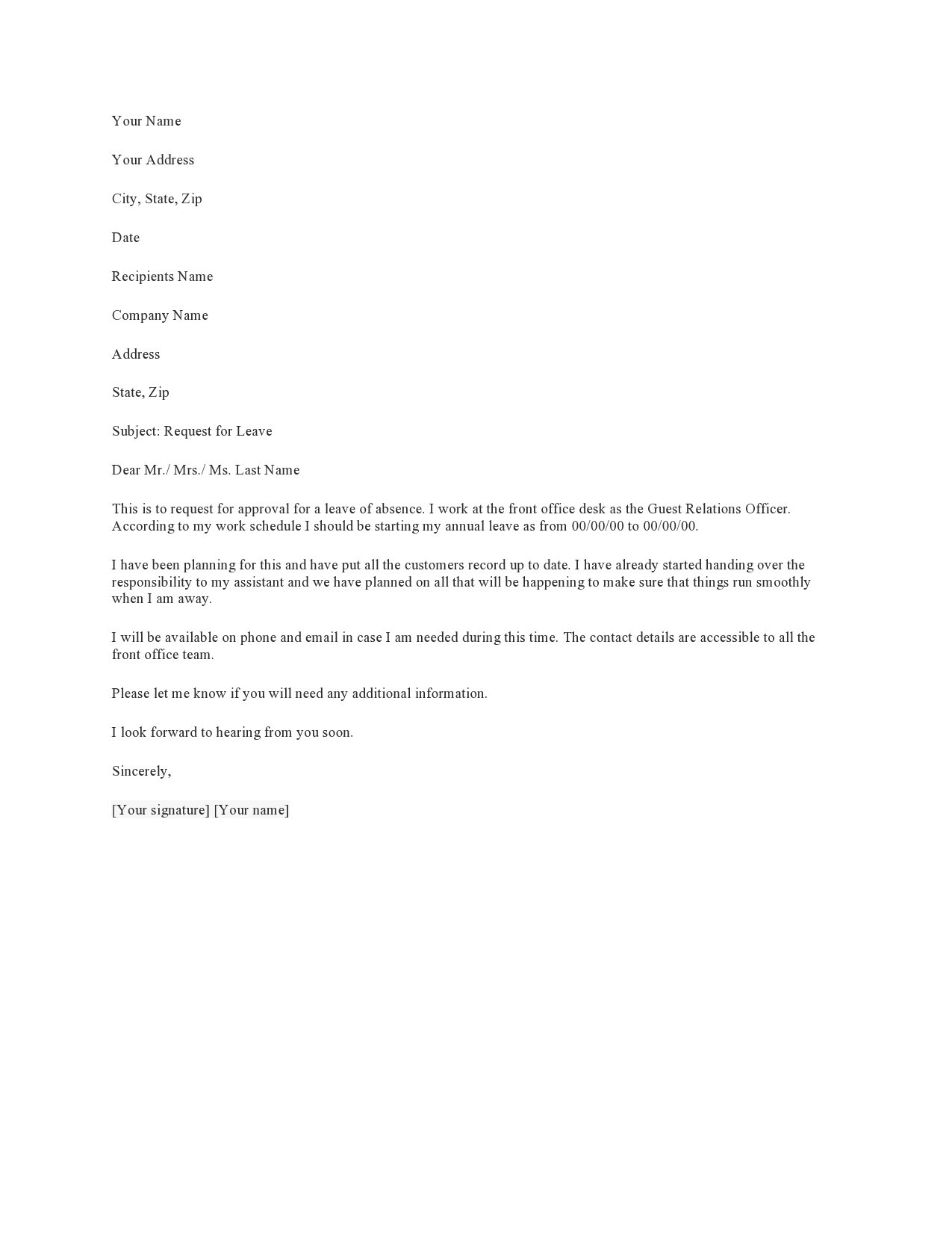 Free leave of absence letter 38