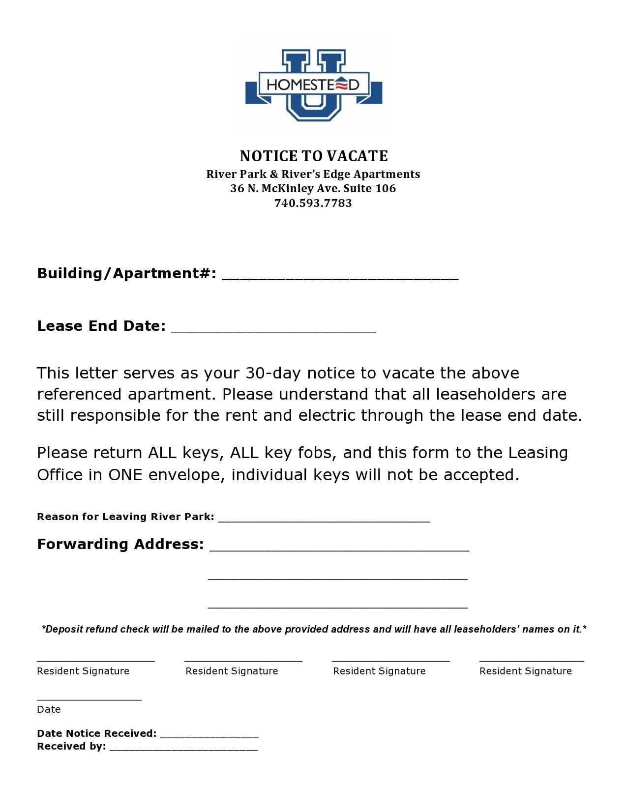 Free notice to vacate 02