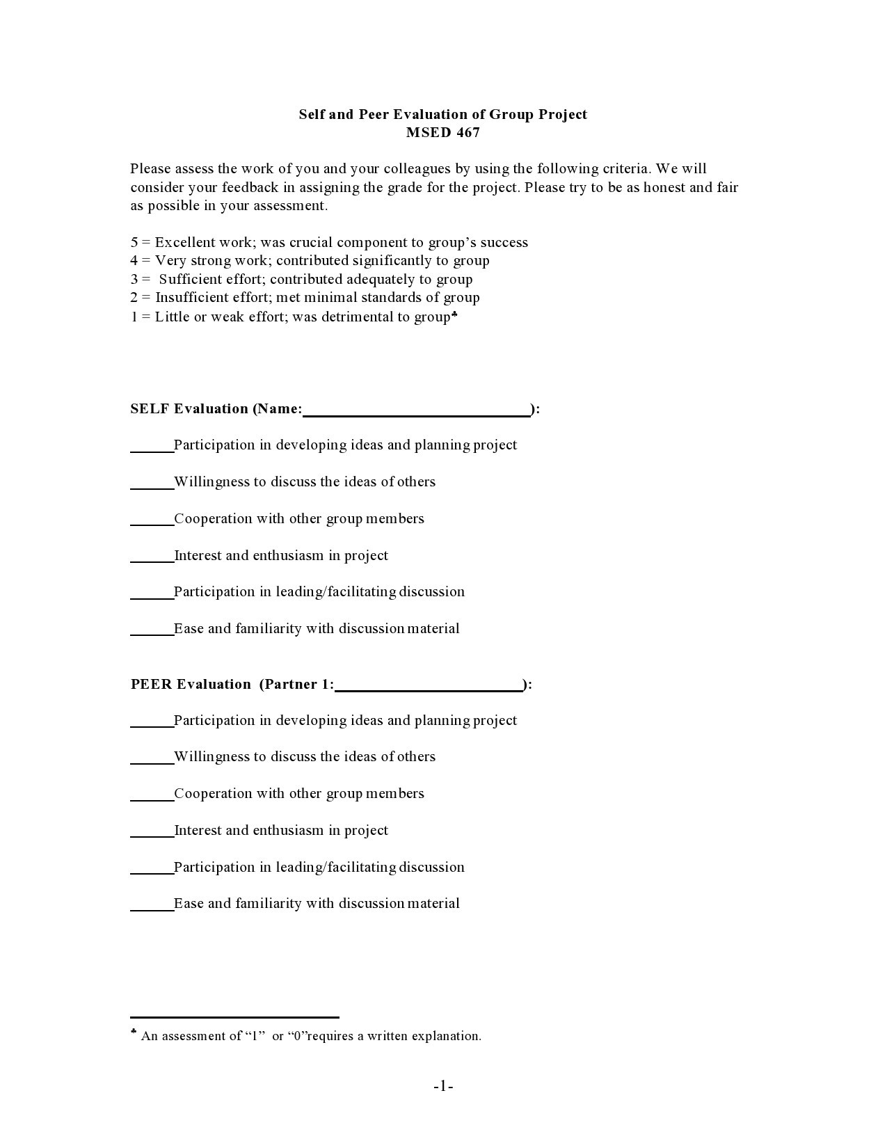 Free peer evaluation form 03