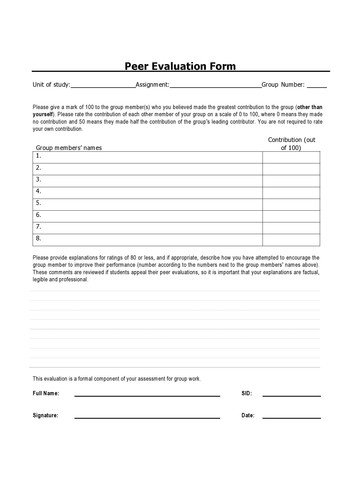 Free peer evaluation form 04