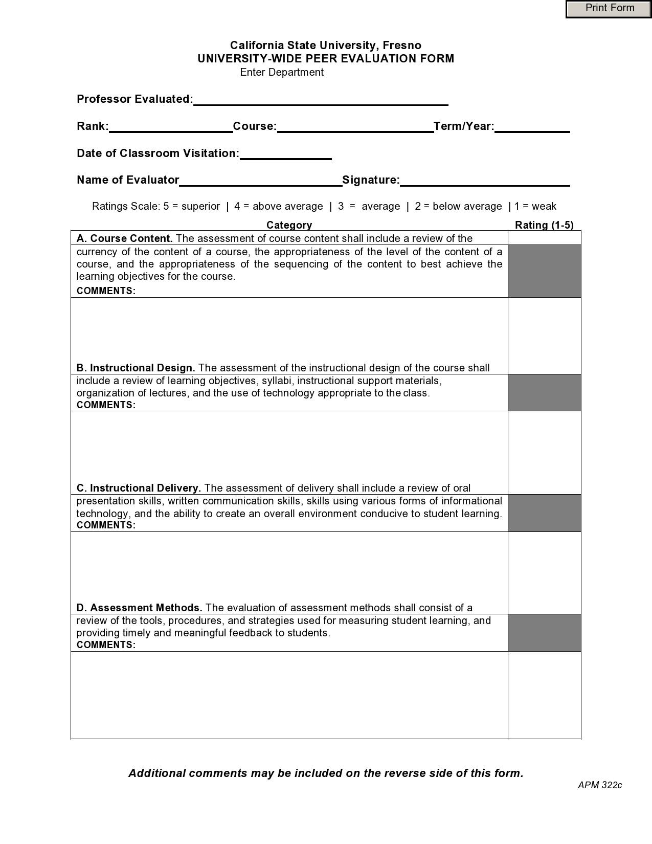 Free peer evaluation form 09
